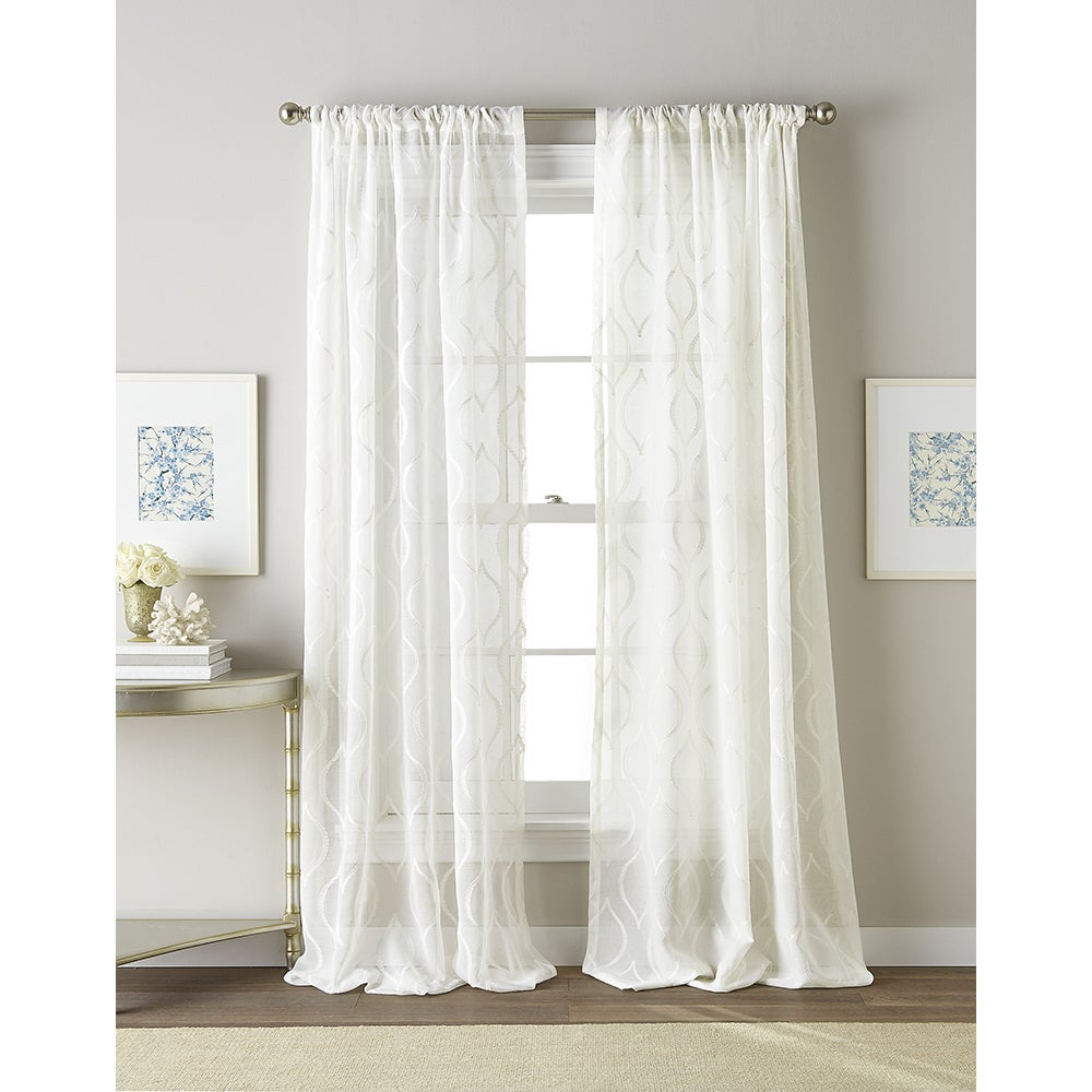 Kida Embroidered Sheer Curtain Panels Throughout Most Popular Hourglass White Embroidered Sheer Curtain Panel (View 4 of 20)