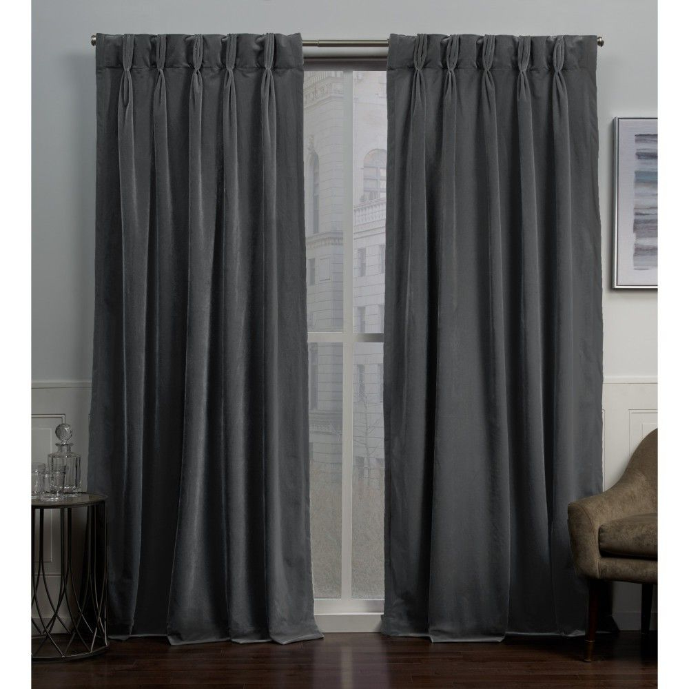 "Knotted Tab Top Window Curtain Panel Pairs Throughout 2020 27""x96"" Velvet Heavyweight Pinch Pleat Top Curtain Panel (Gallery 15 of 20)"