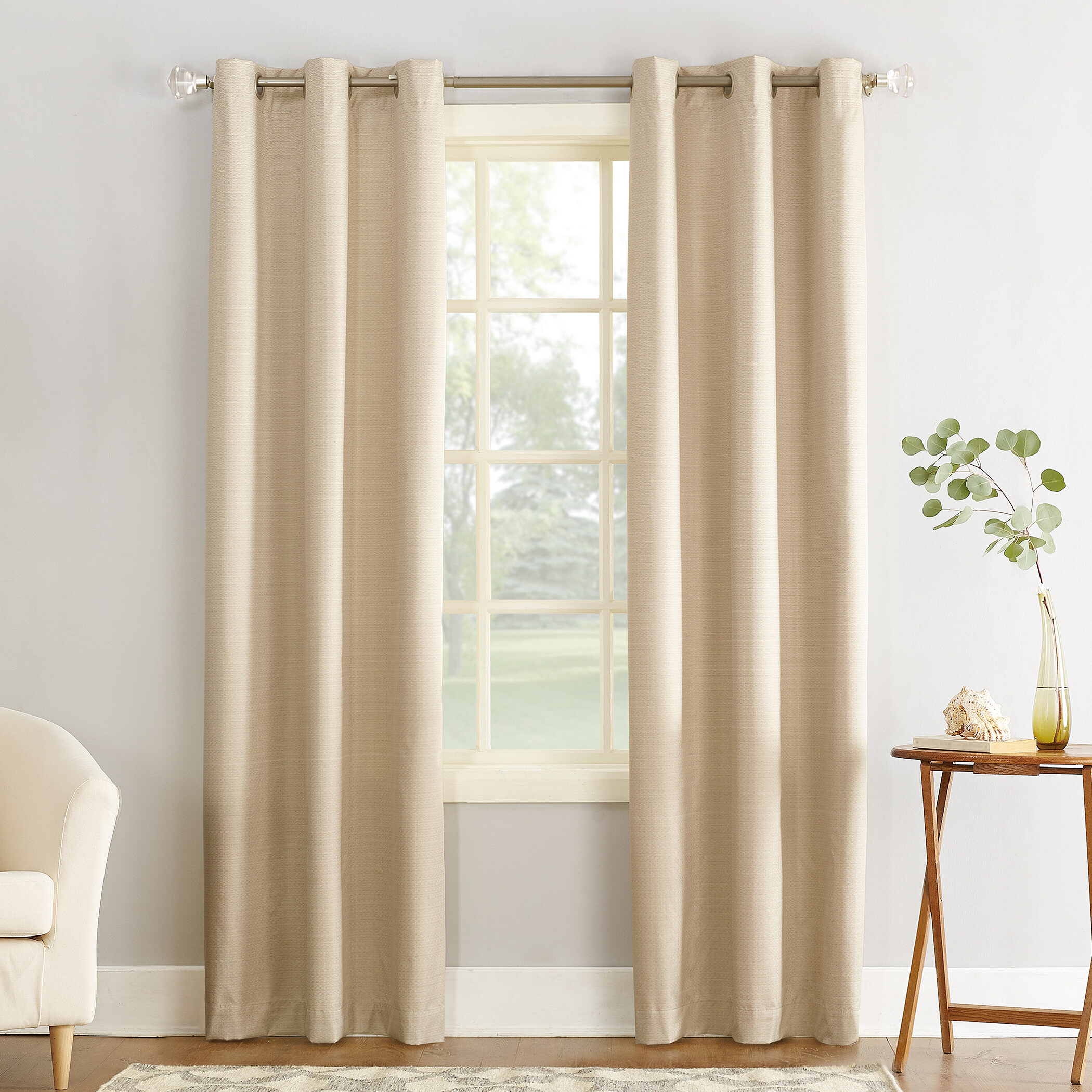 Latest Cooper Textured Thermal Insulated Grommet Curtain Panels Pertaining To Cooper Textured Solid Room Darkening Thermal Insulated Grommet Single Curtain Panel (View 4 of 20)