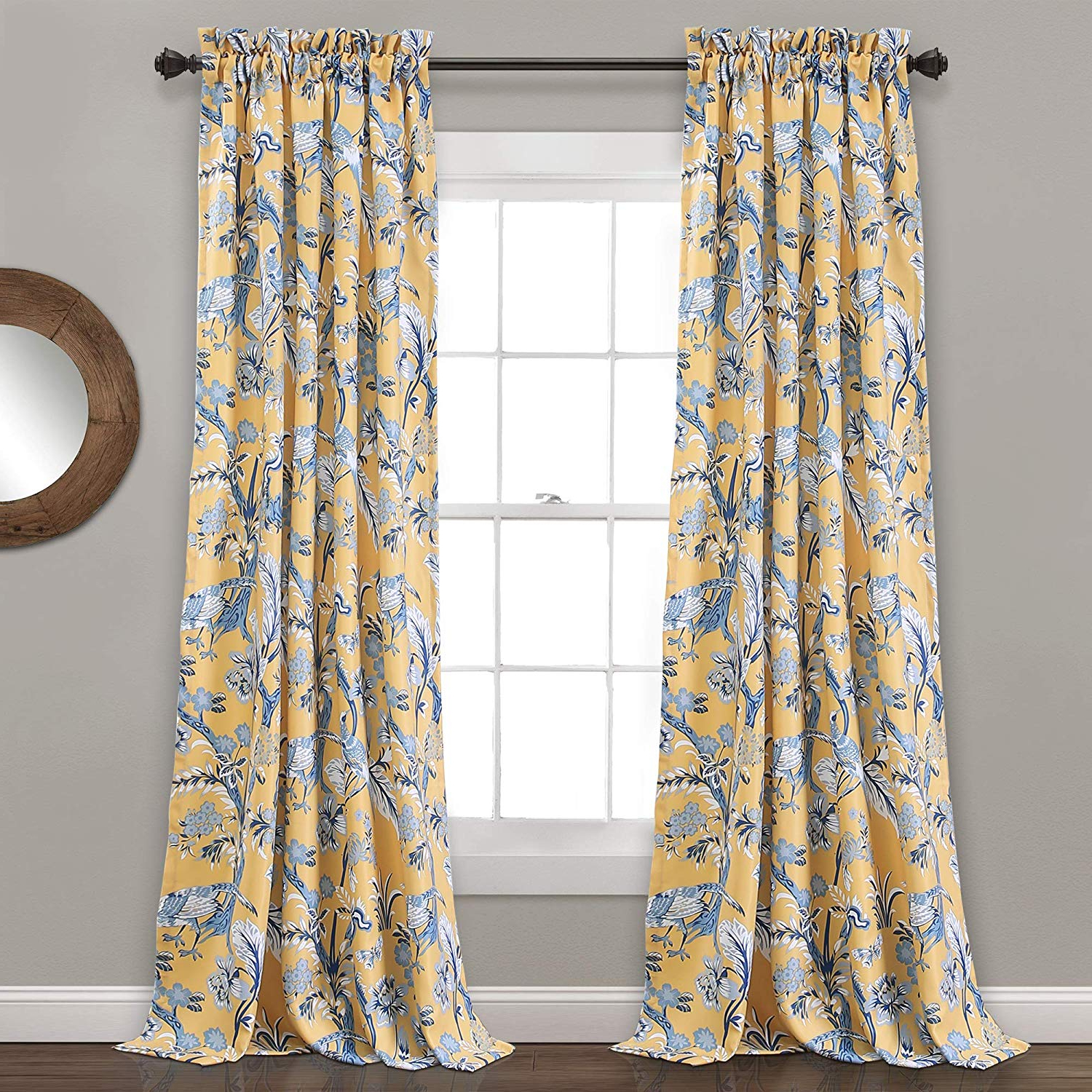 "Latest Dolores Room Darkening Floral Curtain Panel Pairs Intended For Lush Decor Curtains Dolores Darkening Window Panel Set For Living, Dining  Room, Bedroom (Pair), 84"" X 52"", Blue (Gallery 11 of 20)"