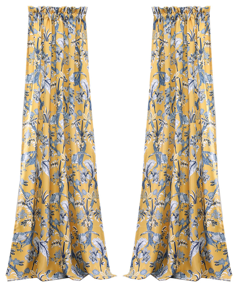 Latest Dolores Room Darkening Window Curtain Yellow Set 52x84+2 Throughout Dolores Room Darkening Floral Curtain Panel Pairs (View 15 of 20)