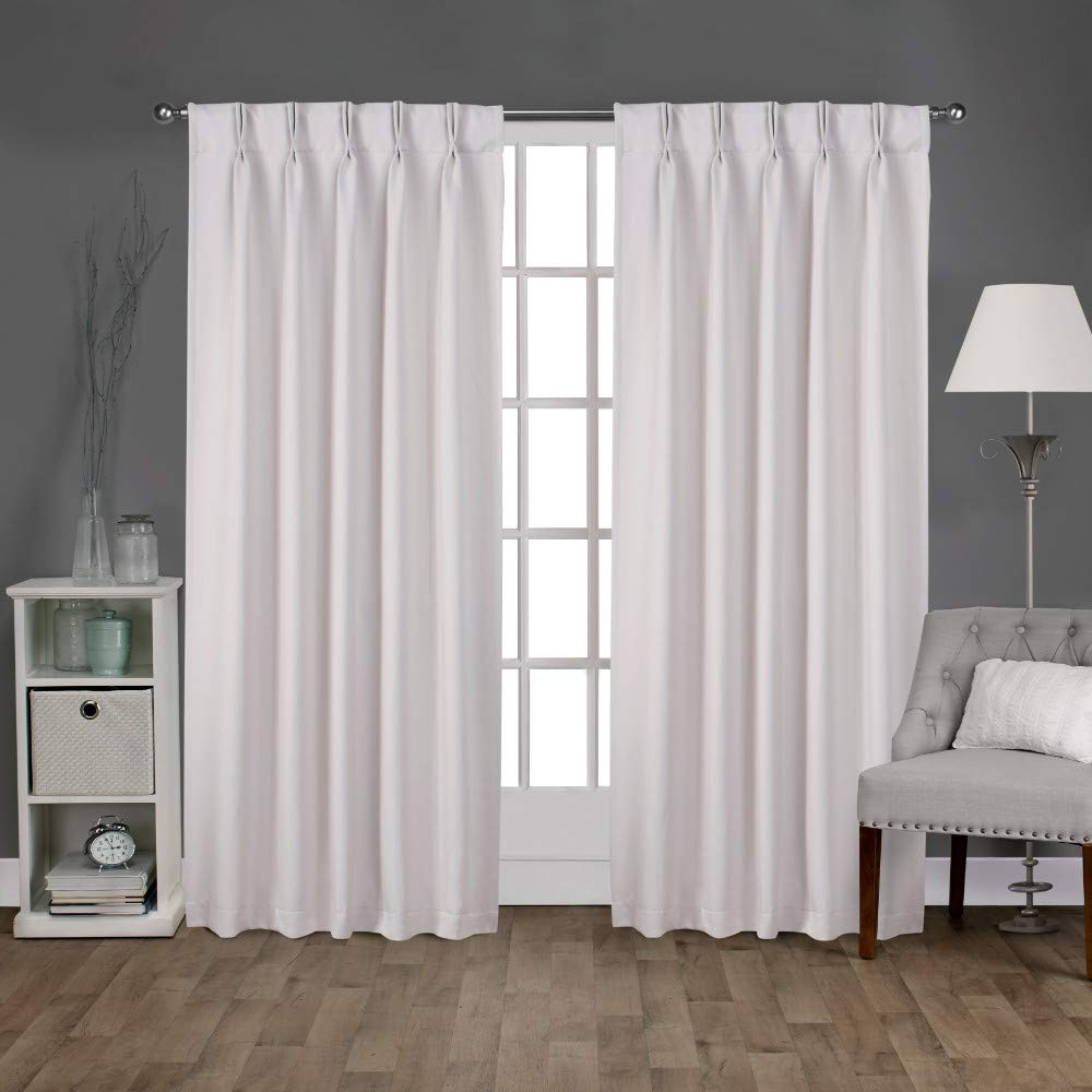 "Latest Double Pinch Pleat Top Curtain Panel Pairs Inside Exclusive Home Curtains Sateen Woven Blackout Window Curtain Panel Pair  With Pinch Pleat Top, 96"" Length, Vanilla, 2 Piece (Gallery 3 of 20)"