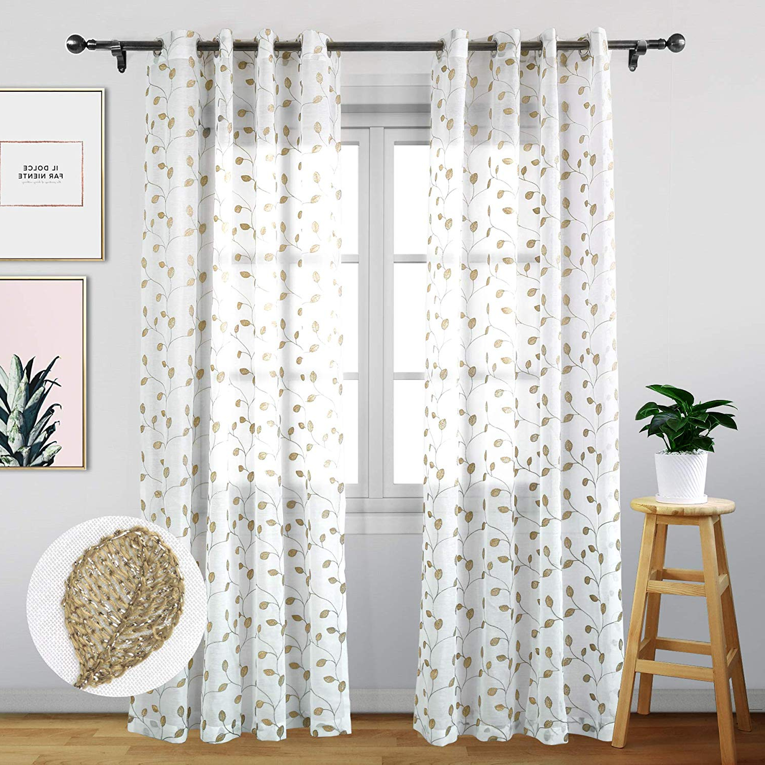 Latest Eamior Sheer Curtains 72 Inches Long – Floral Embroidered Voile Sheer  Curtain Panels With Grommet Top For Living Room (Set Of Two, W52 X L72,  Gold Inside Wavy Leaves Embroidered Sheer Extra Wide Grommet Curtain Panels (Gallery 17 of 20)