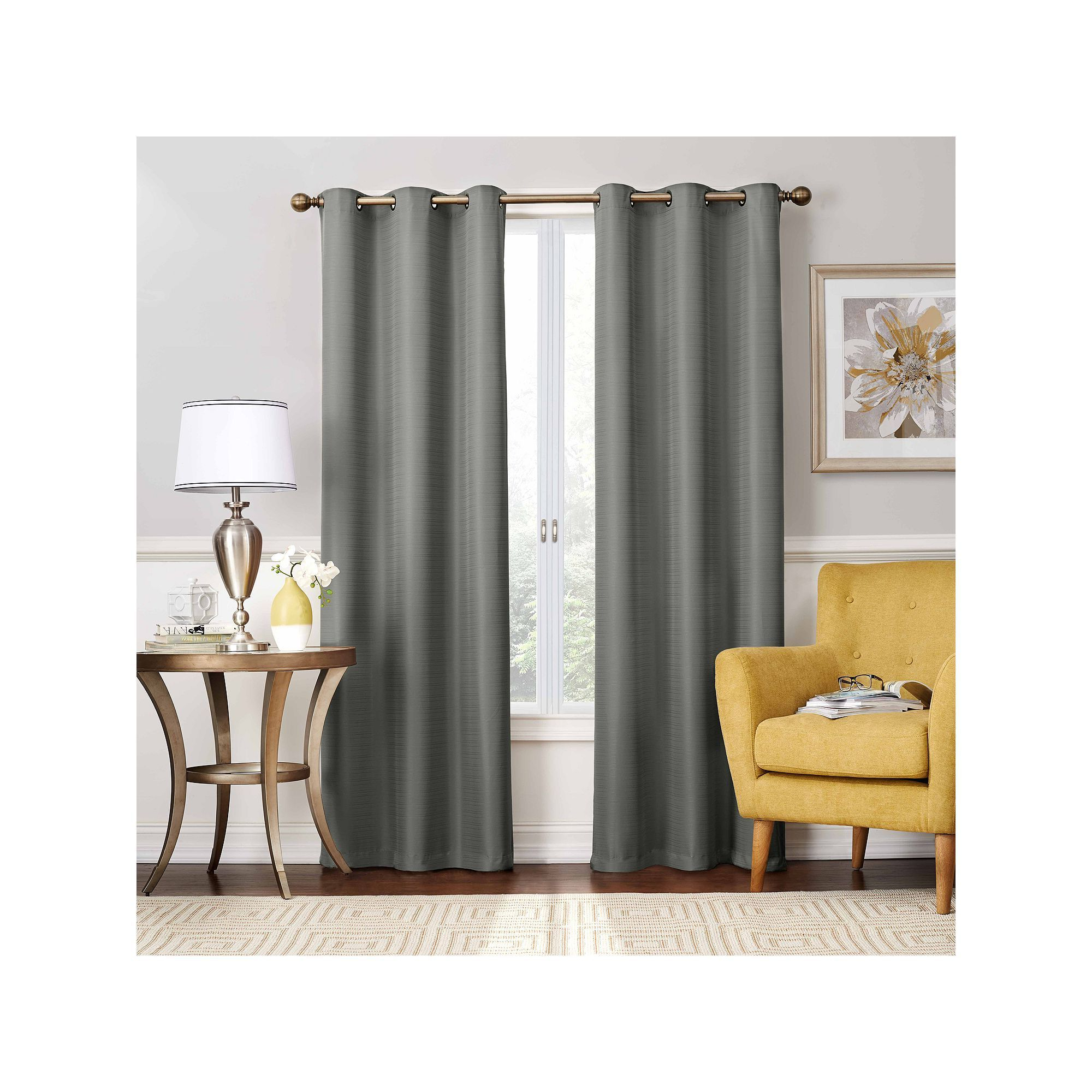 Latest Eclipse Nikki Blackout Window Curtain, Grey, 40x84 With Regard To Thermaback Blackout Window Curtains (View 15 of 20)