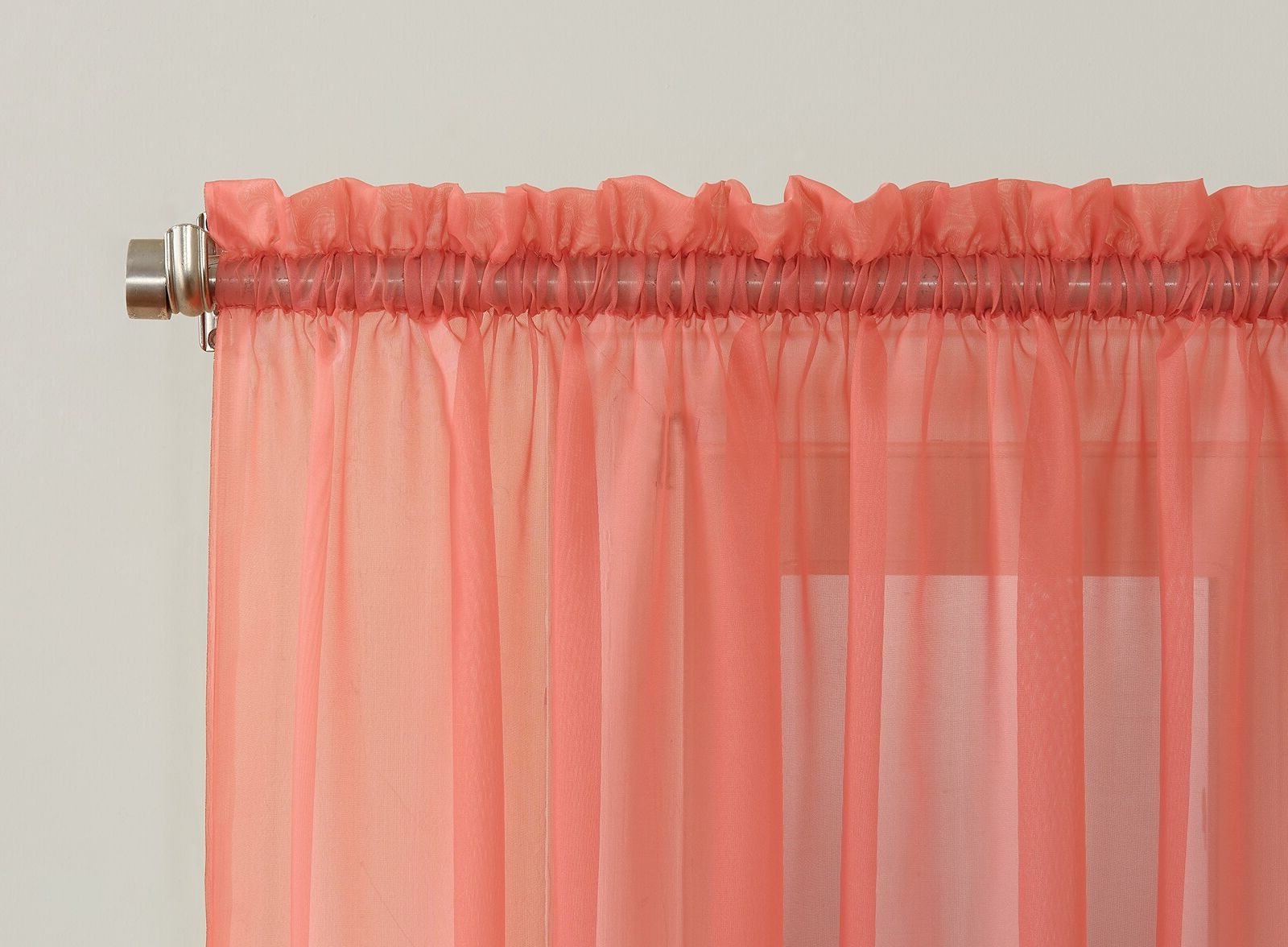 "Latest Emily Sheer Voile Single Curtain Panels Inside Emily Sheer Voile Rod Pocket Curtain Panel, 59"" X 84"", Coral Orange (Gallery 14 of 20)"