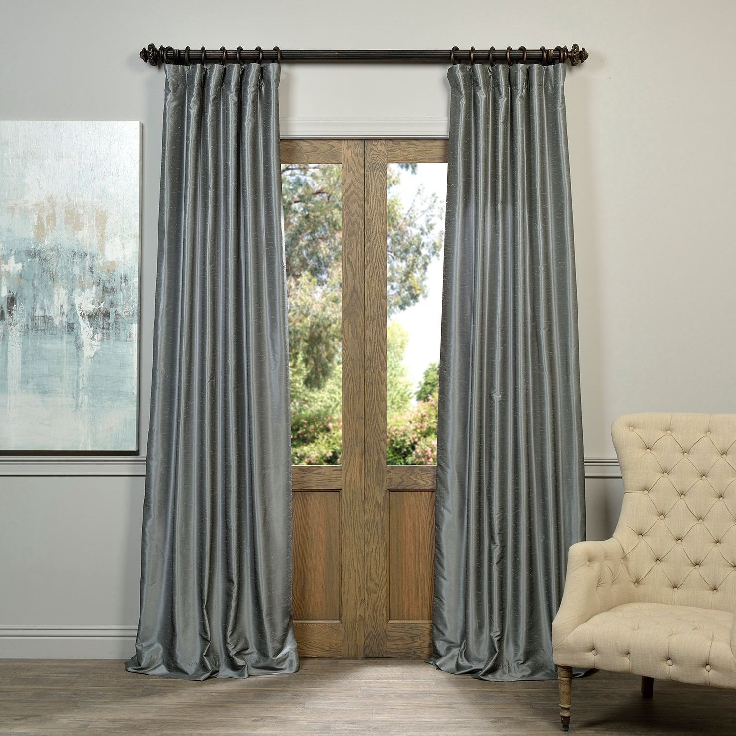 Latest Exclusive Fabrics Storm Grey Vintage Faux Textured Dupioni Intended For Storm Grey Vintage Faux Textured Dupioni Single Silk Curtain Panels (View 6 of 20)