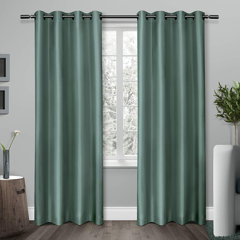 Latest Exclusive Home Curtains Shantung Faux Silk Thermal Window Curtain Panel  Pair With Grommet Top, 54X96, Teal, 2 Piece Within Raw Silk Thermal Insulated Grommet Top Curtain Panel Pairs (Gallery 20 of 20)