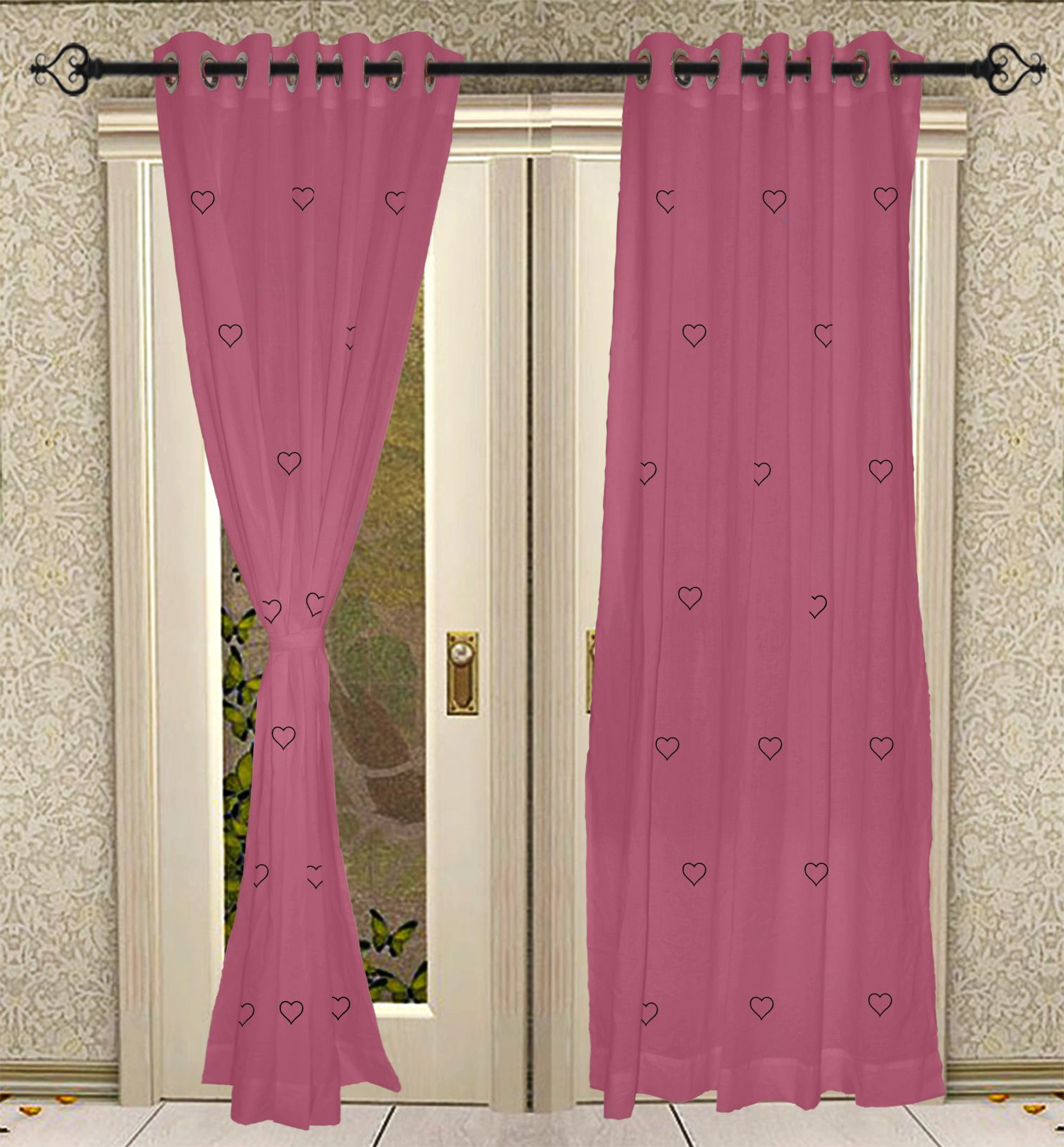 Latest Eyelet Hand Block Printed Ganesha Cotton Pink Curtain Panels For Door 42 X  84 Inch With Regard To Solid Cotton Curtain Panels (Gallery 20 of 20)