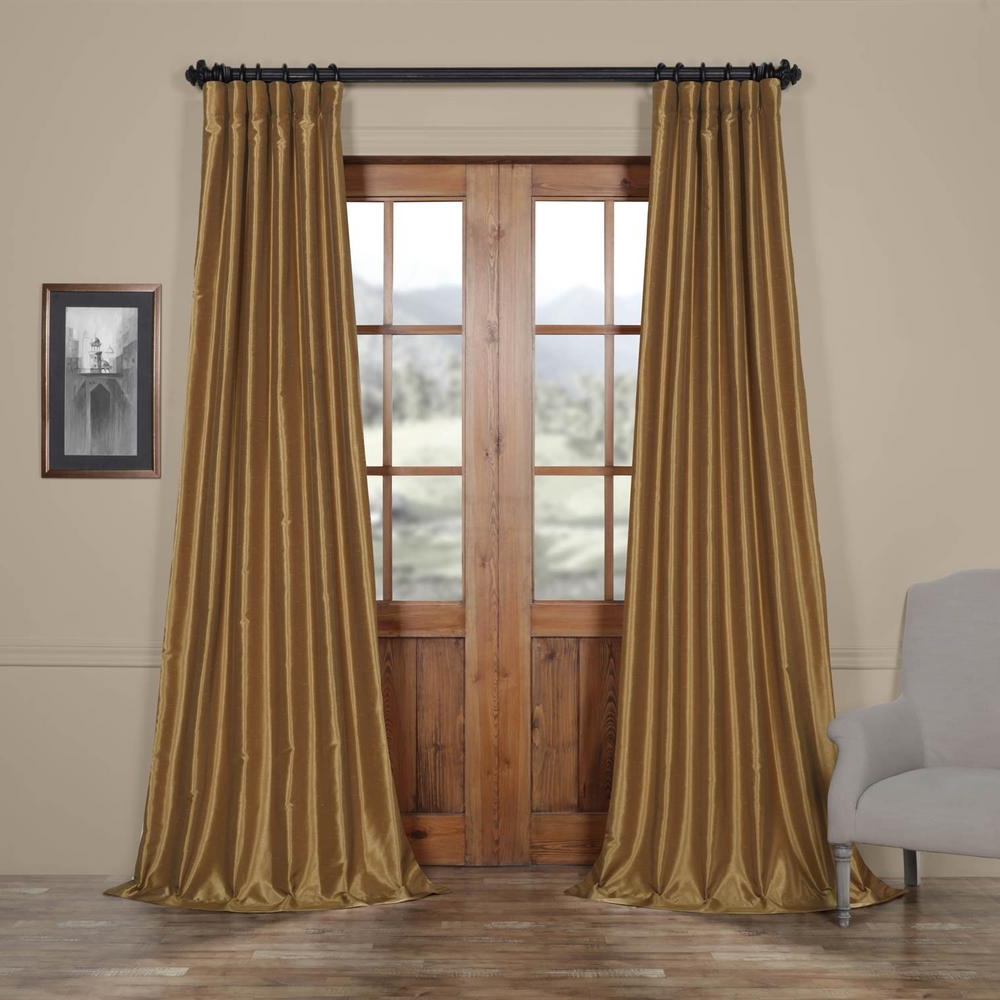 Latest Flax Gold Vintage Faux Textured Silk Single Curtain Panels For Exclusive Fabrics & Furnishings Semi Opaque Flax Gold Vintage Textured Faux Dupioni Silk Curtain – 50 In. W X 84 In (View 5 of 23)