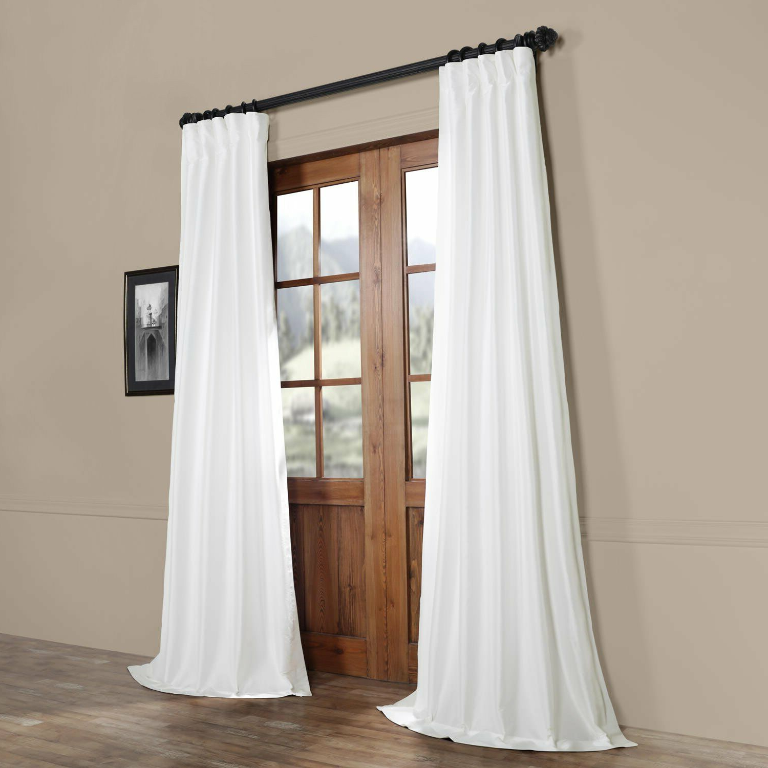 Latest Half Price Drapes White Faux Silk Taffeta Single Panel Curtain, 50 X 108 With Regard To Faux Silk Taffeta Solid Blackout Single Curtain Panels (View 10 of 20)