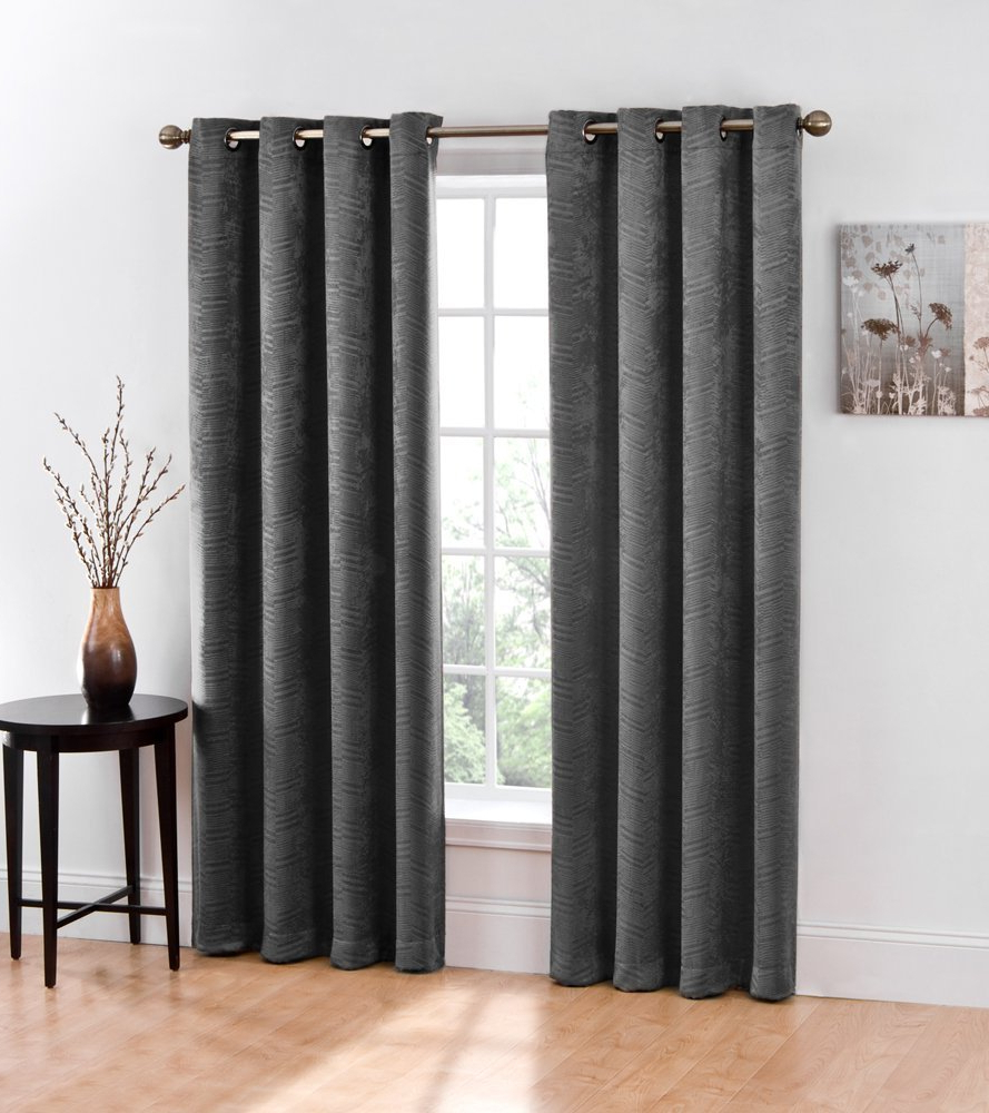 """Latest Hlc Chevron Thermal Blackout Grommet Window Curtain Panel – Pair  50""""w X  84"""" Inch Long (Grey) Regarding Chevron Blackout Grommet Curtain Panels (Gallery 7 of 20)"""