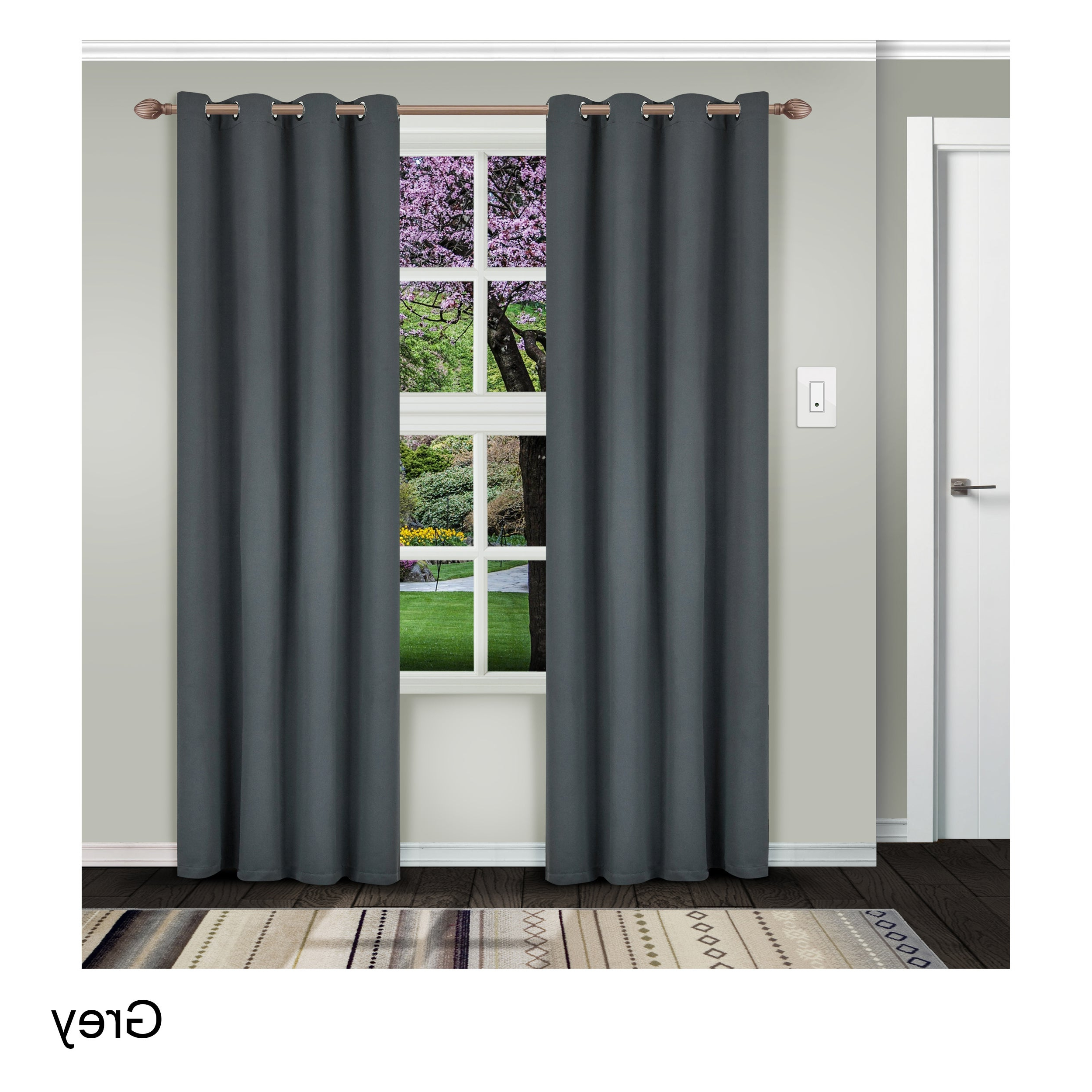 Latest Insulated Thermal Blackout Curtain Panel Pairs Regarding Superior Solid Insulated Thermal Blackout Grommet Curtain Panel Pair (Gallery 3 of 20)