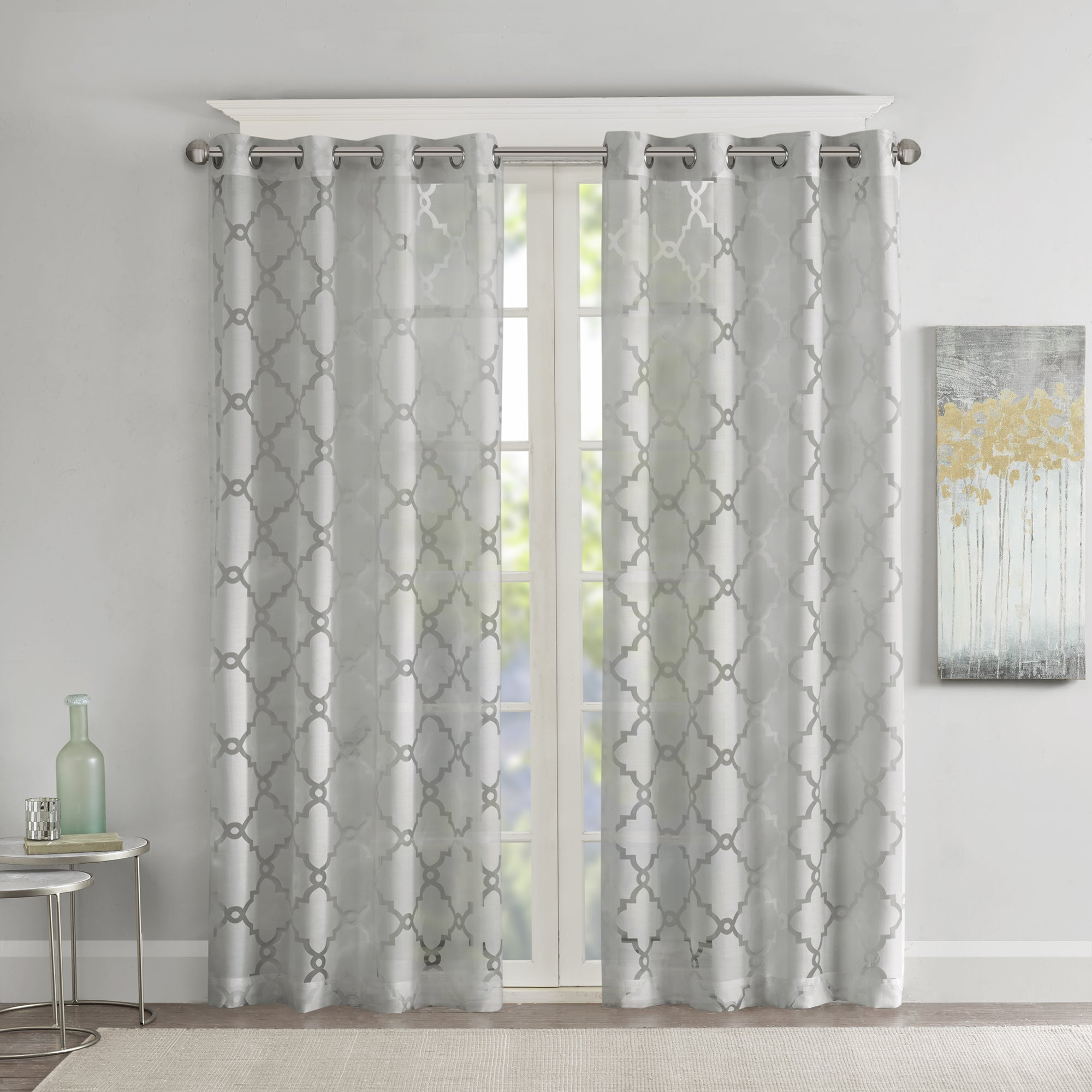 Latest Laya Fretwork Burnout Sheer Curtain Panels In Madison Park Laya Fretwork Burnout Sheer Curtain Panel (View 3 of 20)