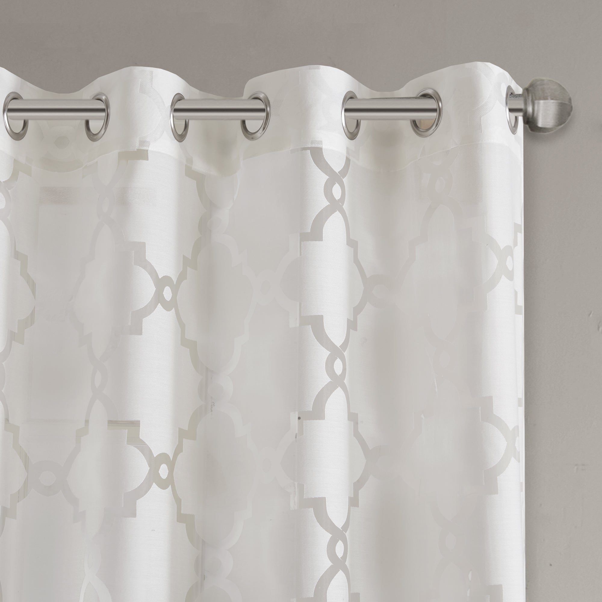 Latest Laya Fretwork Burnout Sheer Curtain Panels Inside Madison Park Laya Fretwork Burnout Sheer Curtain Panel (View 4 of 20)