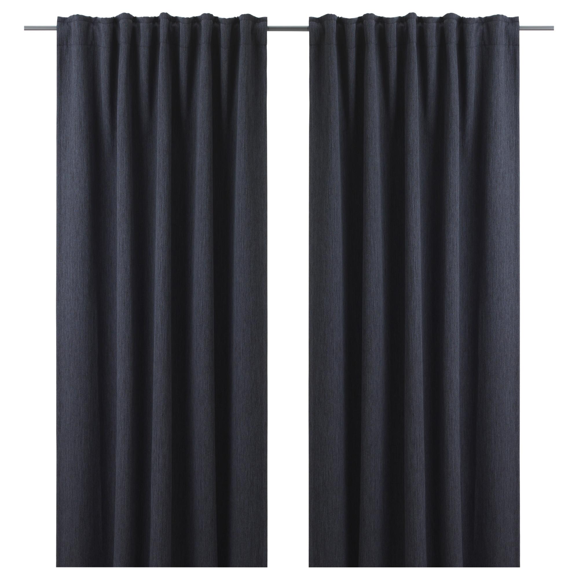 Latest London Blackout Panel Pair Regarding Dagöga Blackout Curtains, 1 Pair, Dark Gray Blue Gray (View 12 of 20)