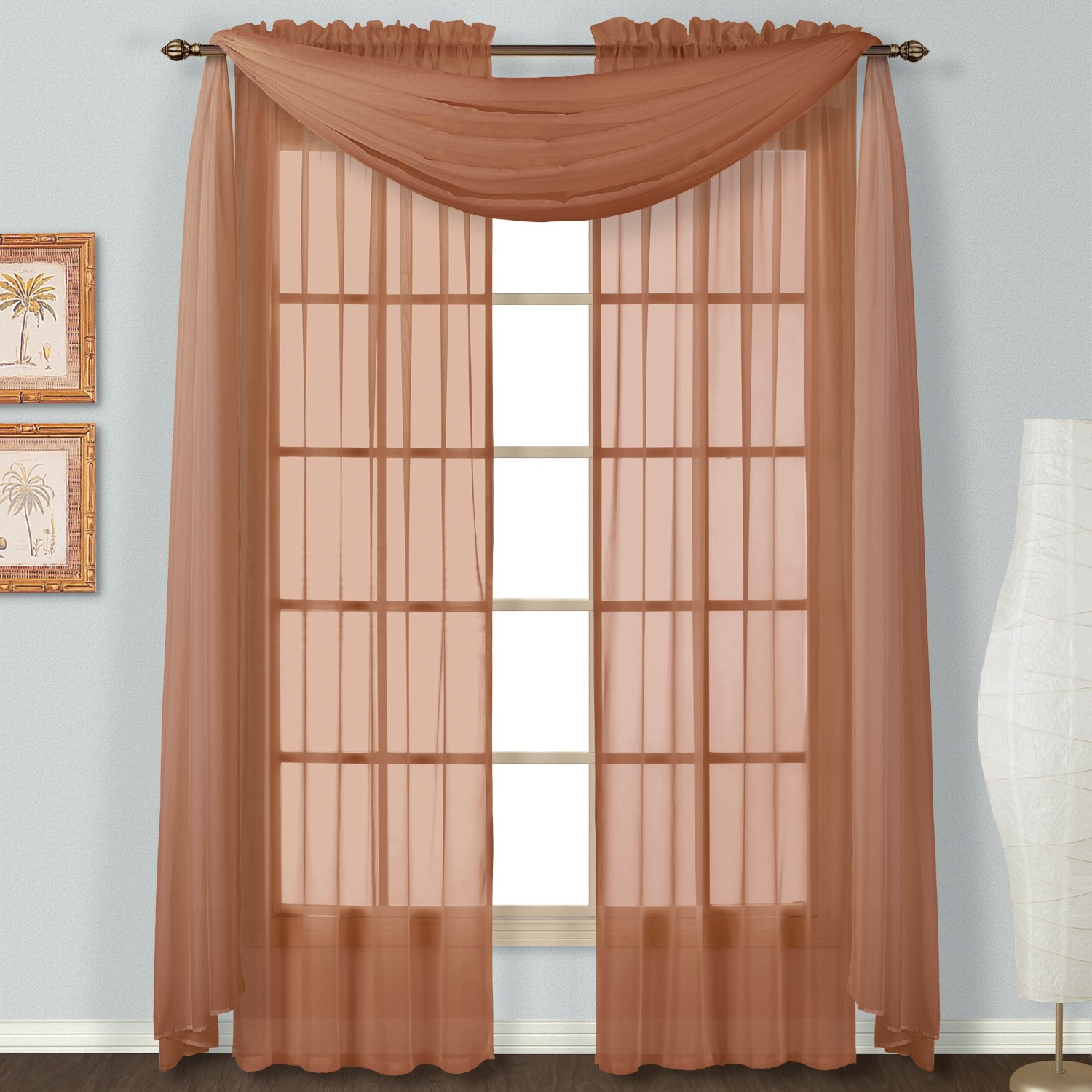 """Latest Luxury Collection Monte Carlo Sheer Curtain Panel Pairs Inside United Curtain Monte Carlo Sheer 59"""" Width Window Curtain Panels (set Of Two 59"""" X 63"""" Curtains) – Color Spice (pack Of 2) (View 8 of 20)"""
