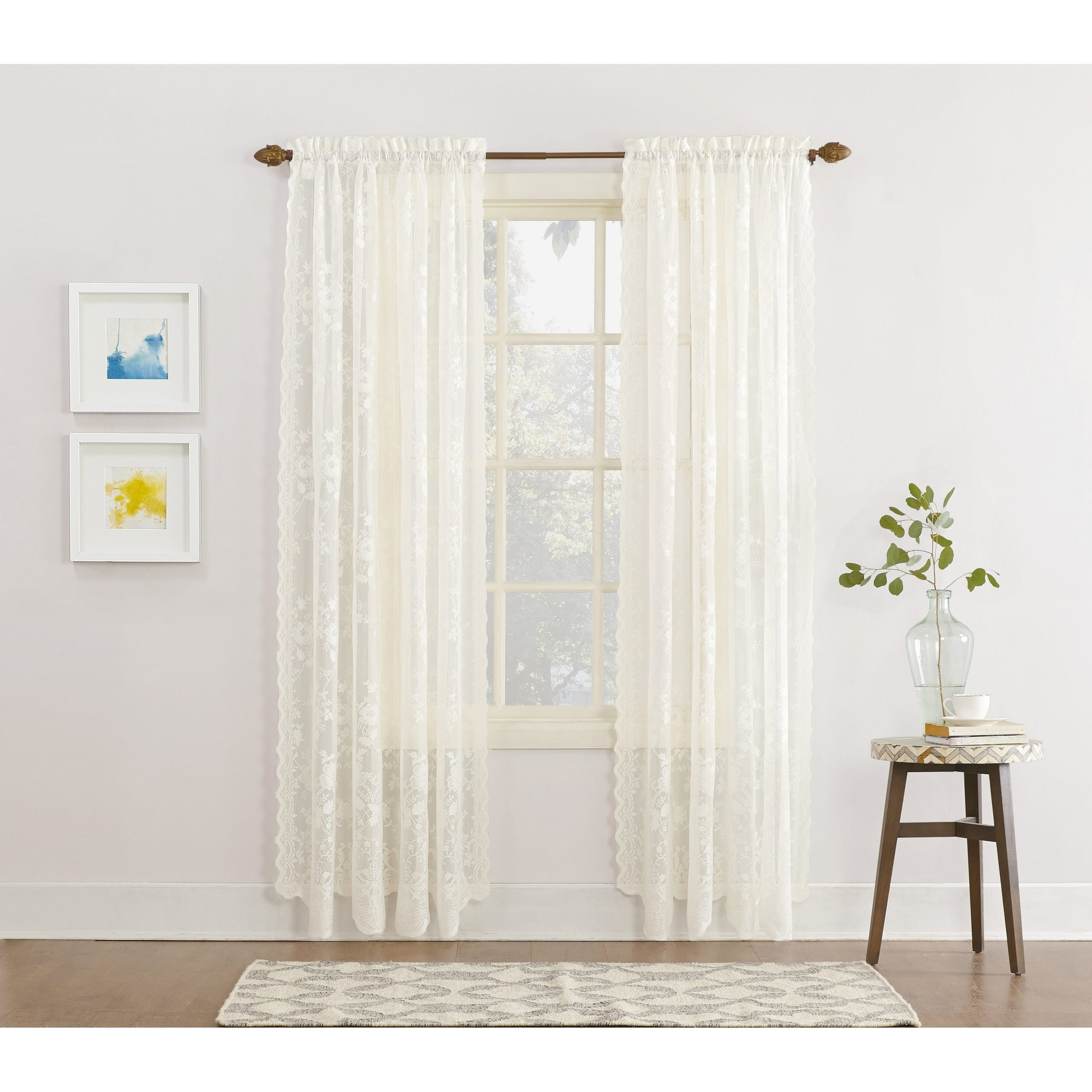 Latest Luxury Collection Summit Sheer Curtain Panel Pairs Pertaining To No. 918 Alison Rod Pocket Lace Window Curtain Panel (Gallery 5 of 20)