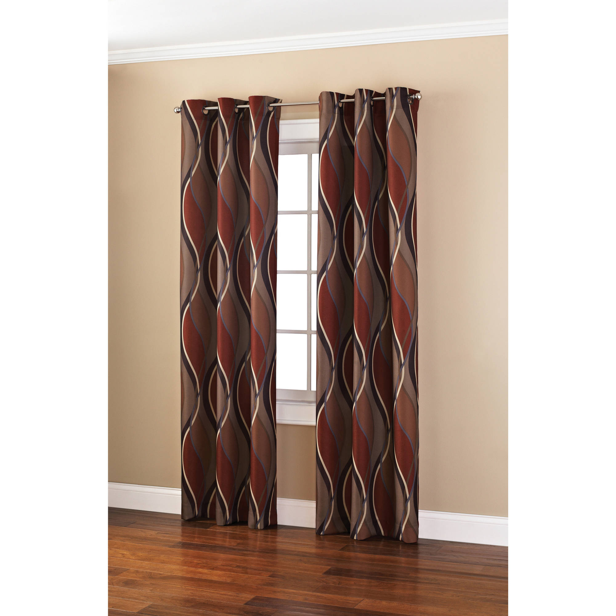 Latest Mainstays Wave Print Casual Curtain Panel – Walmart Within Intersect Grommet Woven Print Window Curtain Panels (Gallery 12 of 20)