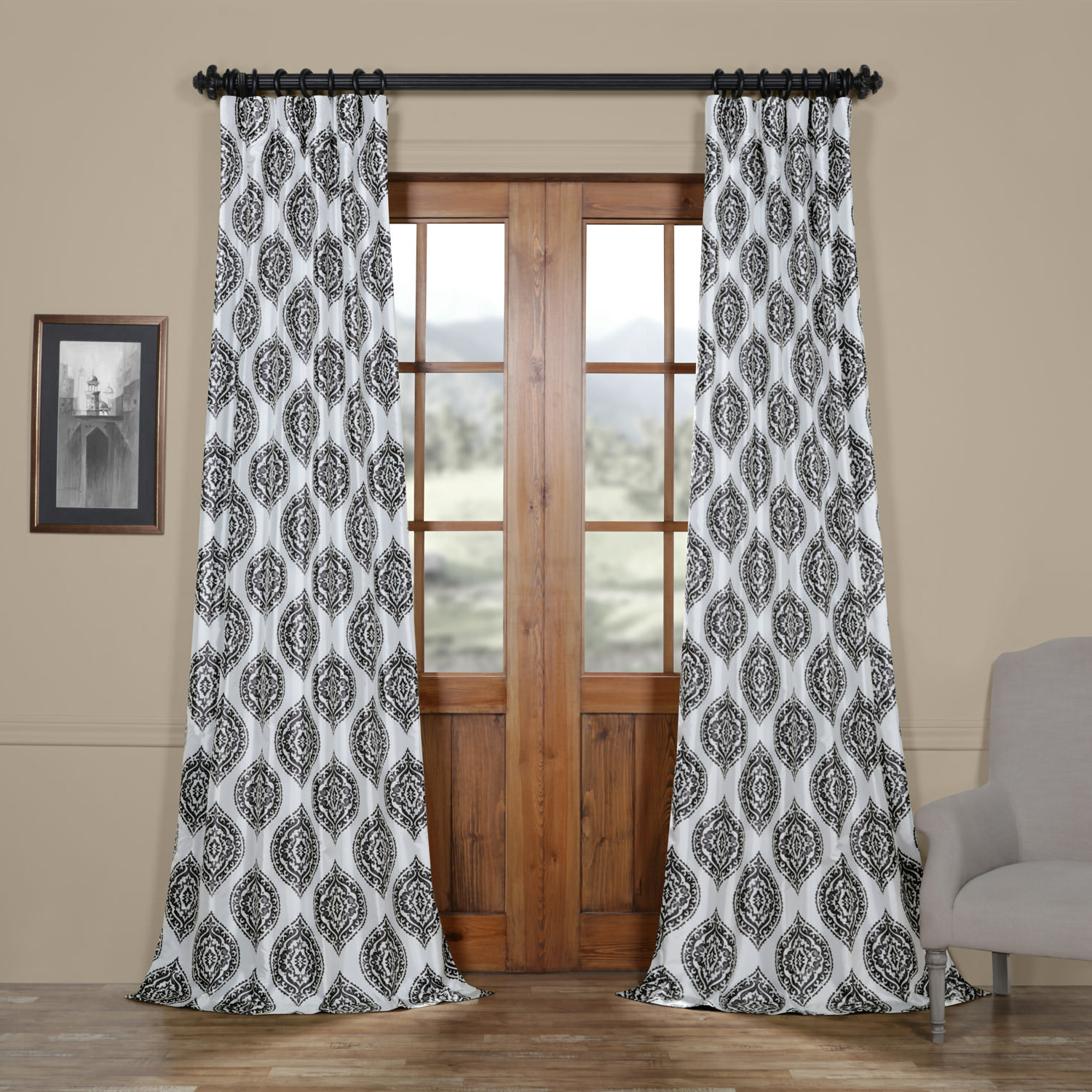 Latest Markiewicz Printed Faux Silk Taffeta Blackout Single Curtain Panel For Faux Silk Taffeta Solid Blackout Single Curtain Panels (Gallery 4 of 20)