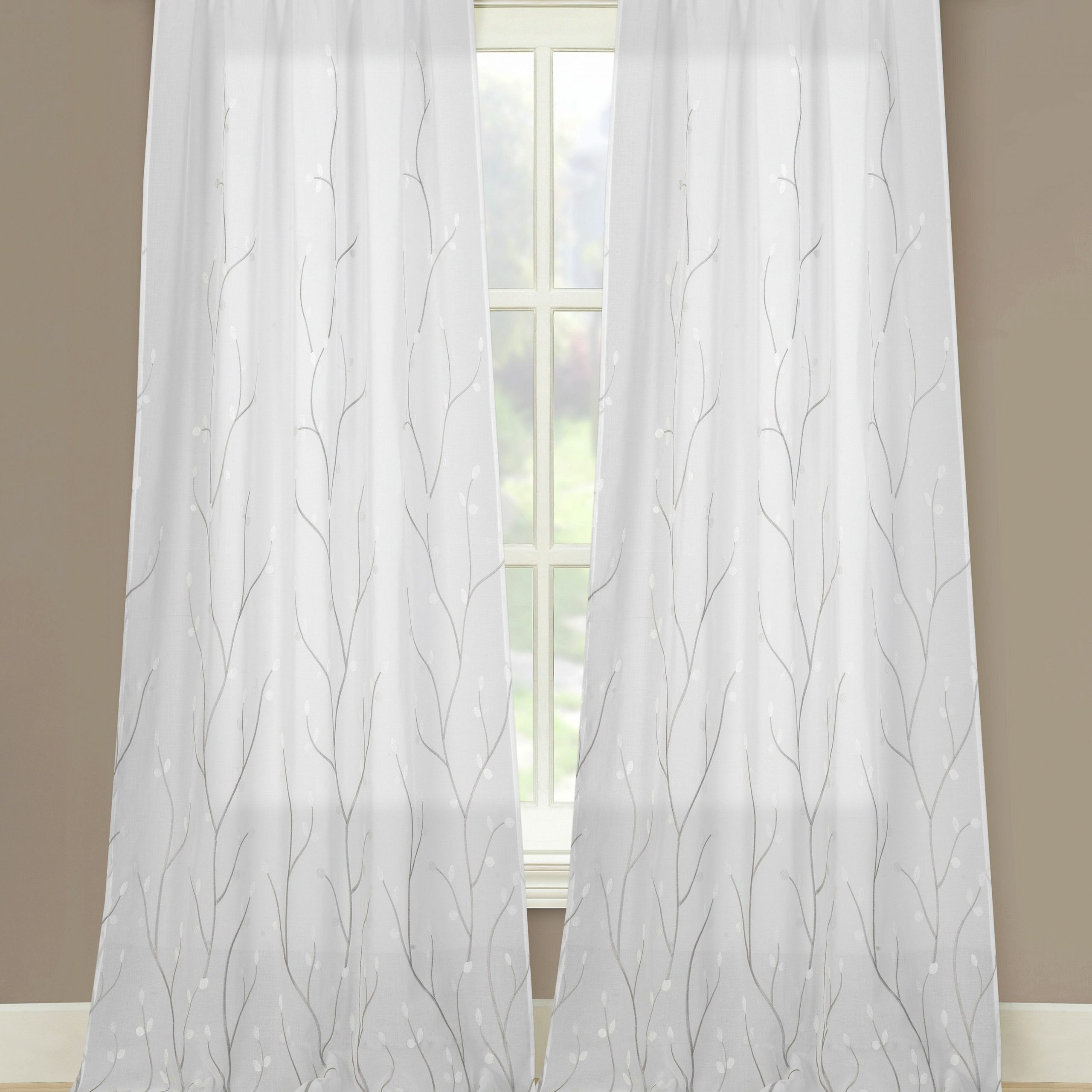 Latest Osuna Vine Embroidered Sheer Curtain Panels With Regard To Kida Embroidered Sheer Curtain Panels (View 8 of 20)