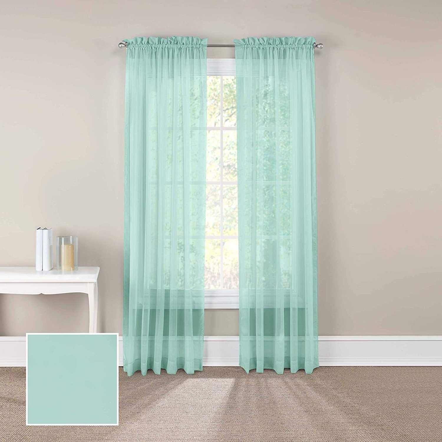 """Latest Pairs To Go Victoria Voile 84"""" X 118"""" Rod Pocket Double Panel Privacy Window Treatment Living Room, Beach Glass, 2 Piece Throughout Pairs To Go Victoria Voile Curtain Panel Pairs (View 7 of 20)"""