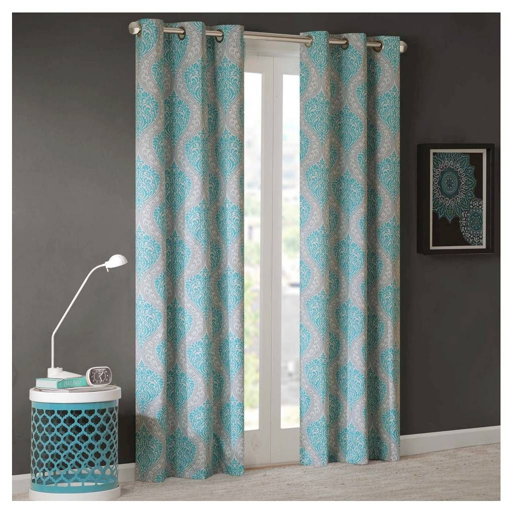 Latest Pastel Damask Printed Room Darkening Grommet Window Curtain Panel Pairs With Chelsea Damask Printed Grommet Top Curtain Panel Pair Aqua (Gallery 15 of 20)