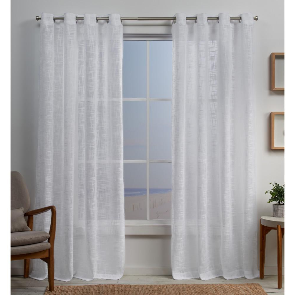 Latest Penny Sheer Grommet Top Curtain Panel Pairs Intended For Exclusive Home Curtains Sena 54 In. W X 84 In. L 2 Way Slub Yarn Grommet  Top Curtain Panel In White (2 Panel) (Gallery 6 of 20)