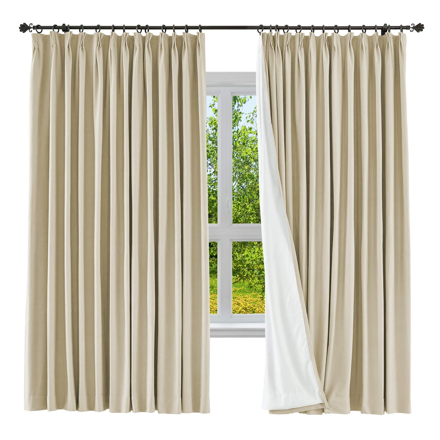 Latest Solid Country Cotton Linen Weave Curtain Panels Throughout Cololeaf Blackout Curtain Panel Cotton Linen Drape Window (View 8 of 20)