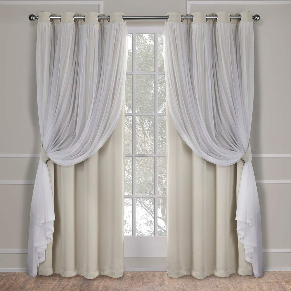 Latest Solid Grommet Top Curtain Panel Pairs Within Exclusive Home Curtains Catarina Layered Solid Blackout And Sheer Window  Curtain Panel Pair With Grommet Top, 52X84, Sand, 2 Piece (Gallery 2 of 20)