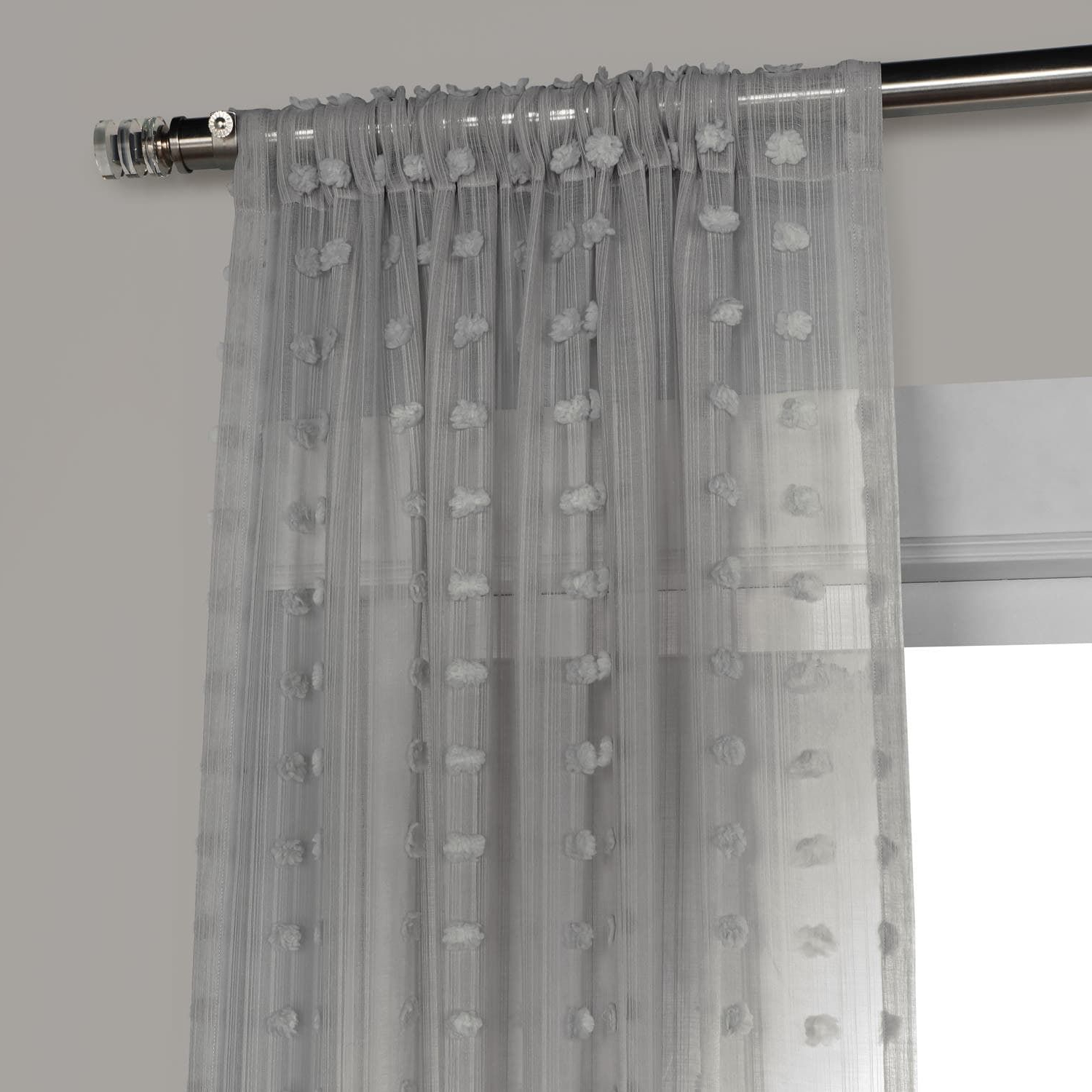 Latest Strasbourg Dot Grey Patterned Linen Sheer Curtain (View 15 of 20)