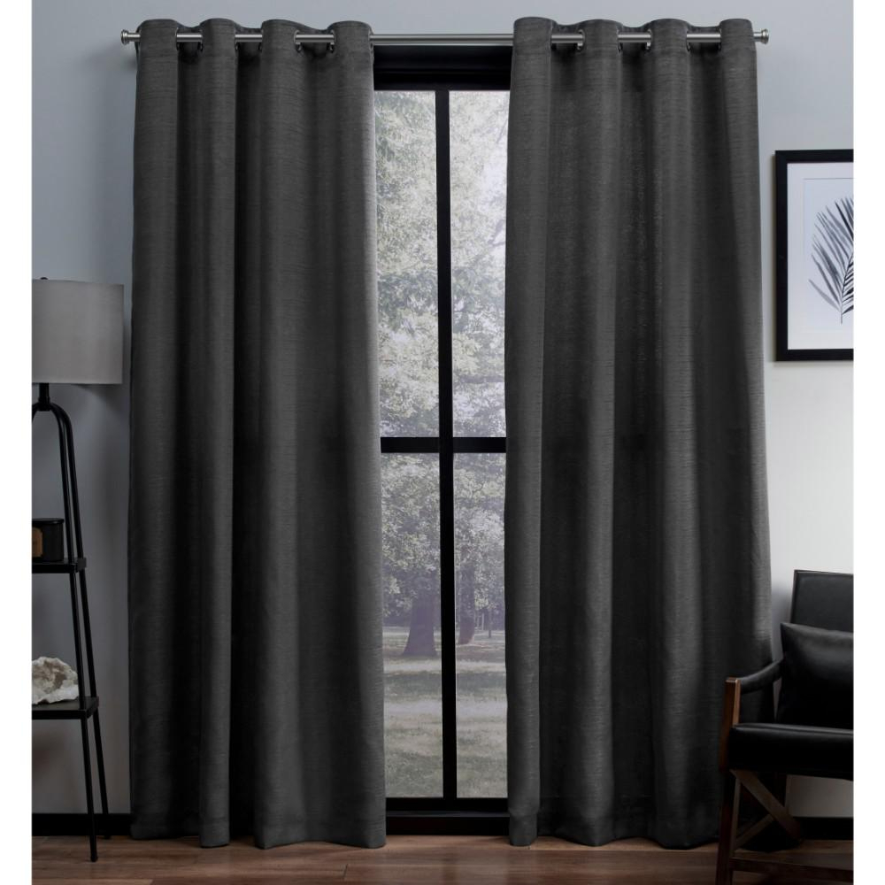 Latest Virenze Black Pearl Faux Silk Grommet Top Window Curtain Throughout Luxury Collection Faux Leather Blackout Single Curtain Panels (View 6 of 20)