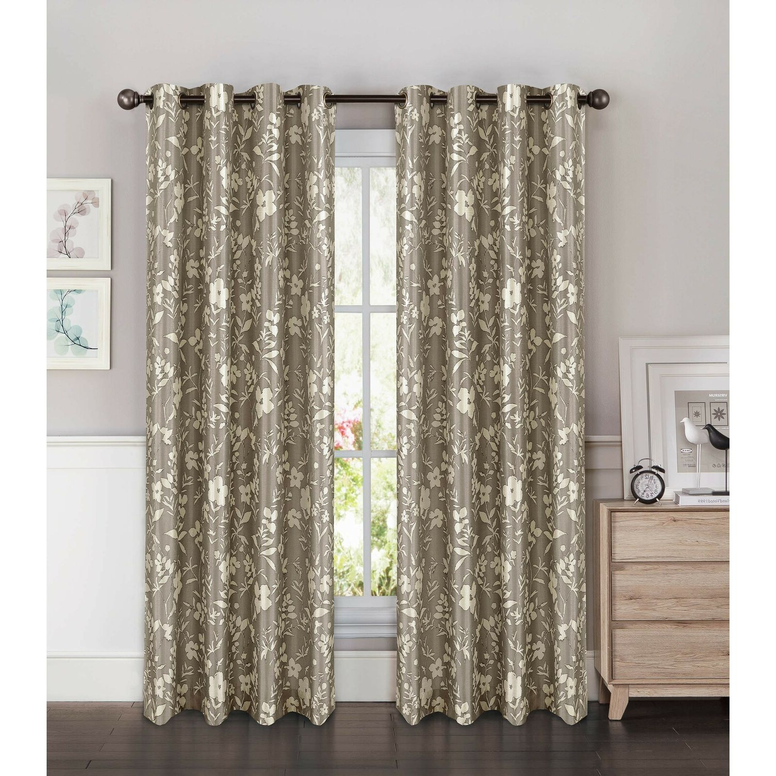 Latest Wavy Leaves Embroidered Sheer Extra Wide Grommet Curtain Panels Within Window Elements Florabotanica Printed Faux Silk Extra Wide 54 X 84 In.  Gromme (Gallery 20 of 20)
