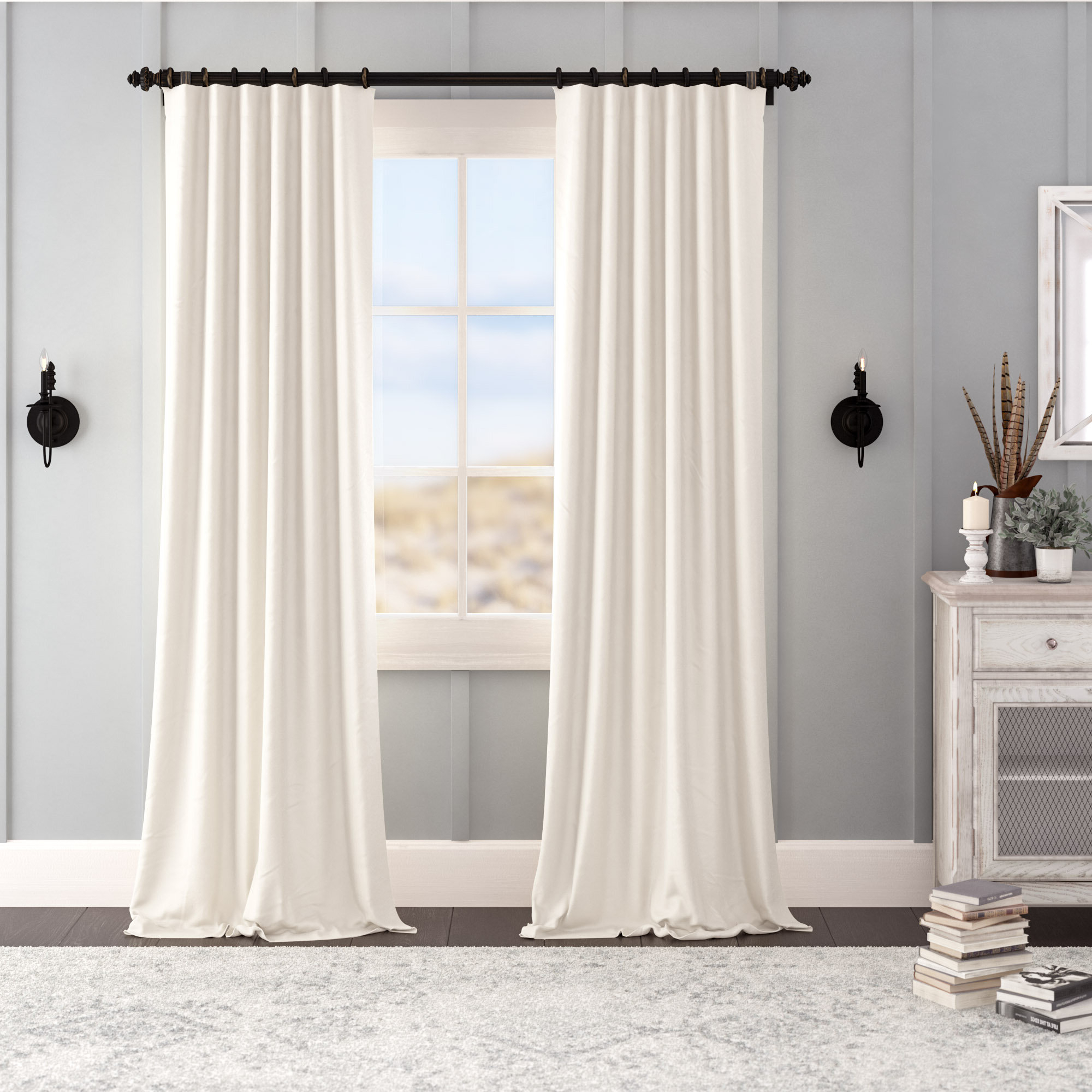 Laurel Foundry Modern Farmhouse Albert Velvet Solid Blackout With Regard To Well Liked Velvet Dream Silver Curtain Panel Pairs (View 13 of 20)