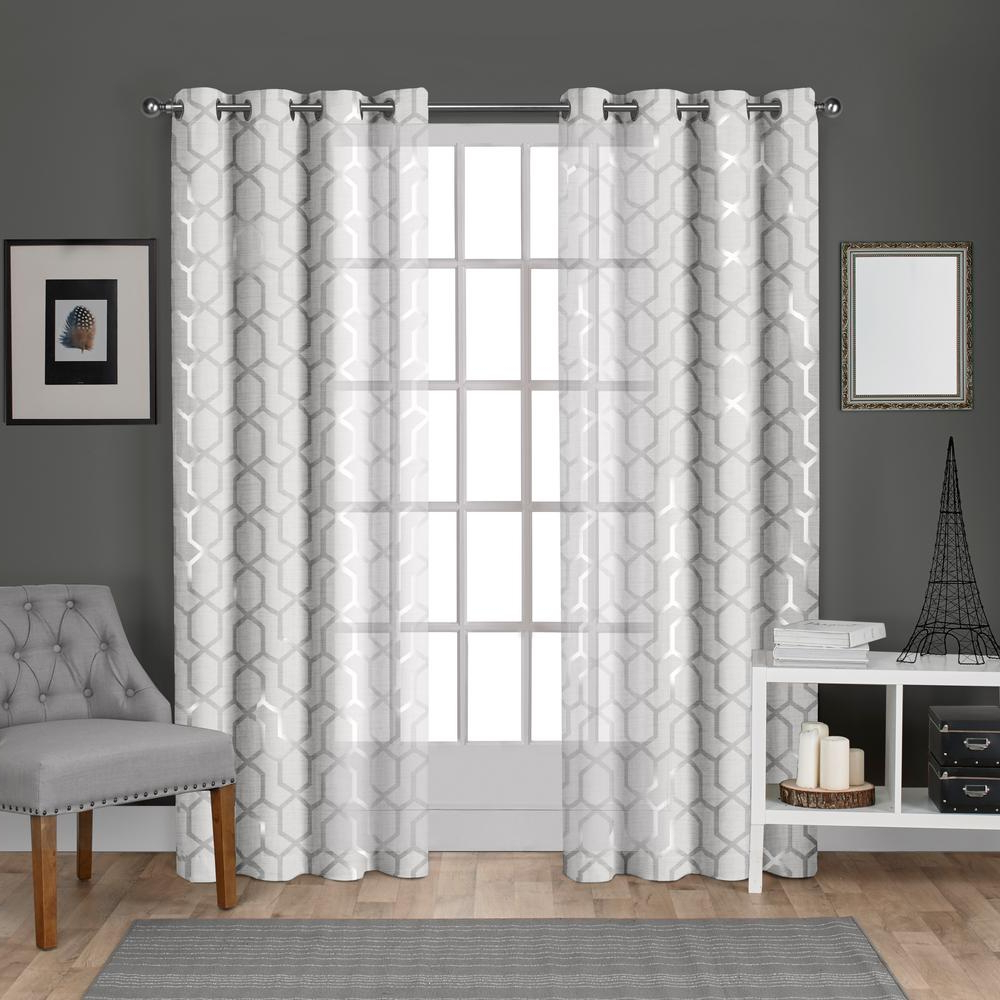 Laya Fretwork Burnout Sheer Curtain Panels In Favorite Panza 54 In. W X 84 In (View 7 of 20)