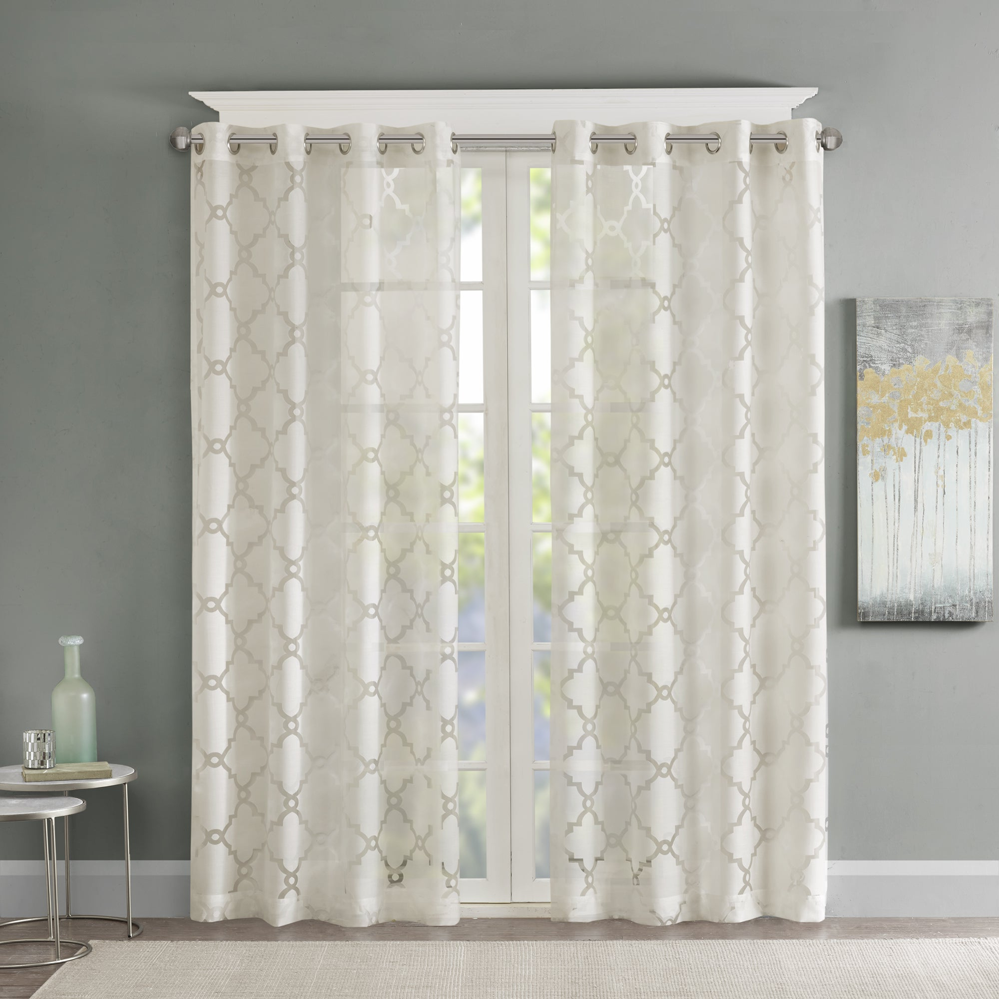 Laya Fretwork Burnout Sheer Curtain Panels Pertaining To Fashionable Madison Park Laya Fretwork Burnout Sheer Curtain Panel (View 2 of 20)