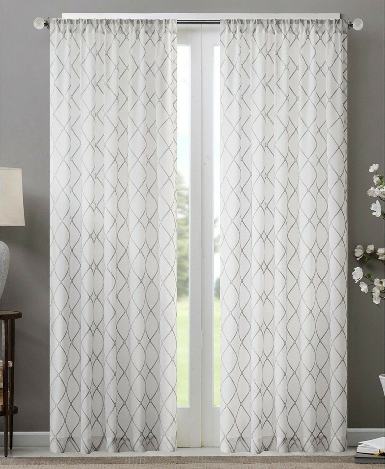 "Laya Fretwork Burnout Sheer Curtain Panels Regarding Recent Madison Park Irina Sheer Rod Pocket Curtain Panel 50"" X 95"" White Gray (View 17 of 20)"