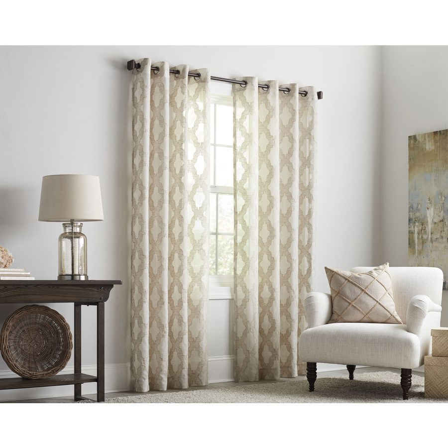 Light Filtering Sheer Single Curtain Panels With 2020 Allen + Roth Breesport 63 In Oat Polyester Grommet Light (View 7 of 20)