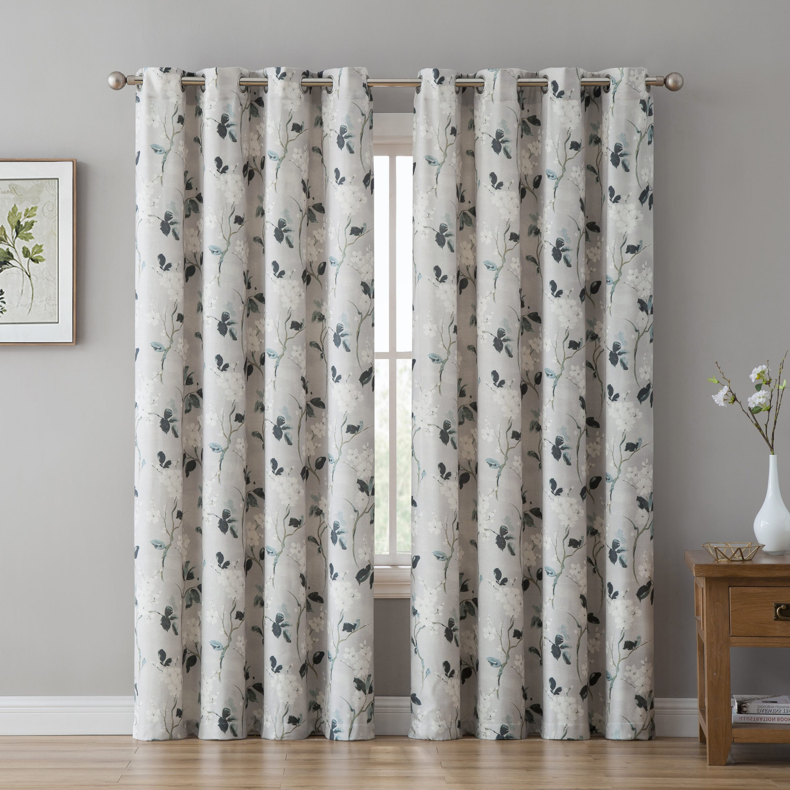 Liliana Floral/flower Room Darkening Grommet Curtain Panels In Popular Cyrus Thermal Blackout Back Tab Curtain Panels (View 16 of 20)