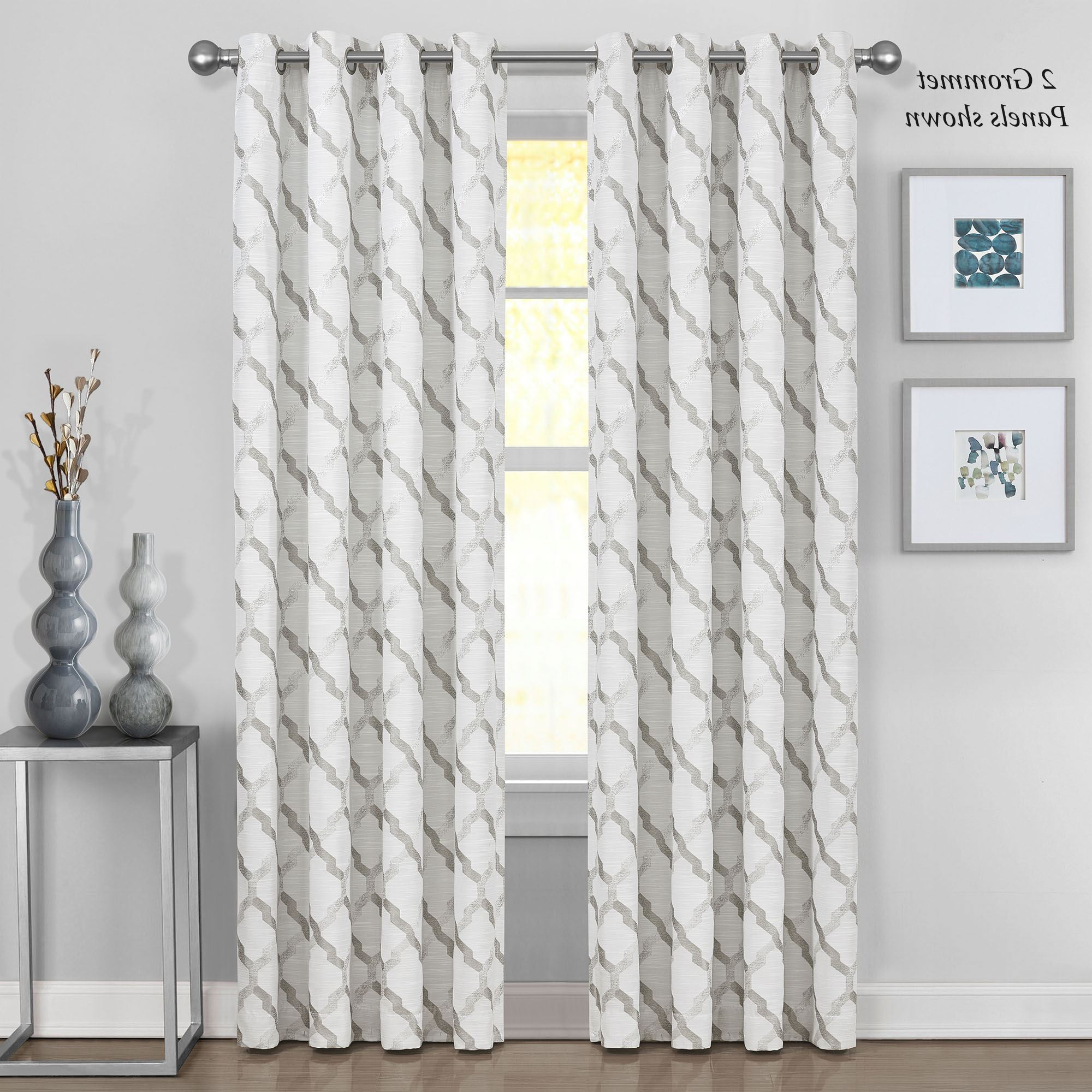 Lined Grommet Curtain Panels Regarding 2021 Modena Geometric Lattice Lined Grommet Curtain Panel (View 10 of 20)