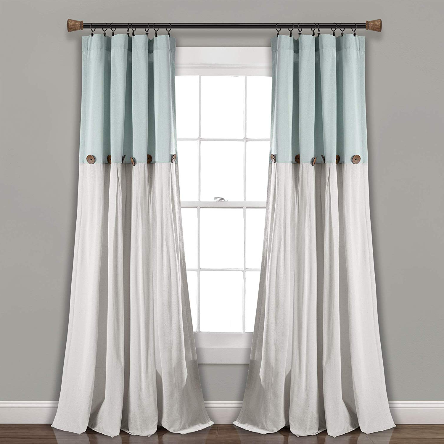 "Linen Button Window Curtains Single Panel Throughout 2021 Lush Decor Linen Button Window Curtain Single Panel, 84"" X 40"", Gray/white (View 2 of 20)"