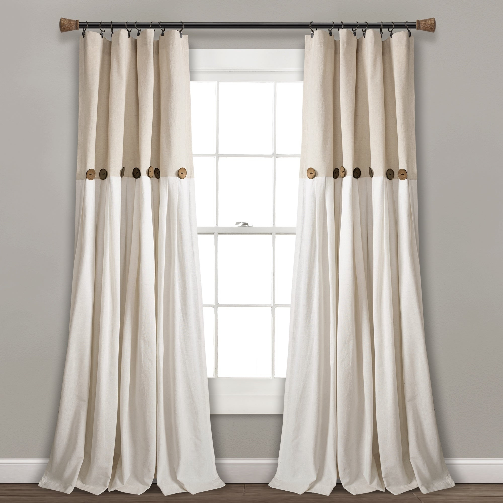 Linen Button Window Curtains Single Panel With Regard To Well Liked Lush Decor Linen Button Window Curtain Single Panel (View 1 of 20)