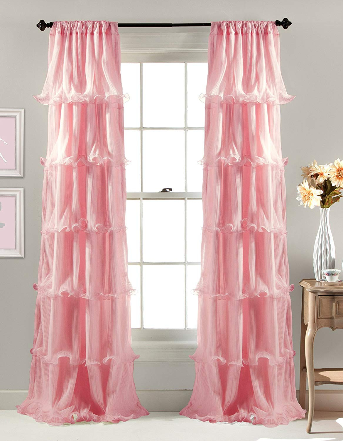 Linens And More 2 Panel Window Sheer Voile Vertical Ruffled Waterfall  Curtains84 Inches Long X 50 Inches Wide (Pink Ruffled) With Regard To Well Known Sheer Voile Waterfall Ruffled Tier Single Curtain Panels (View 6 of 20)