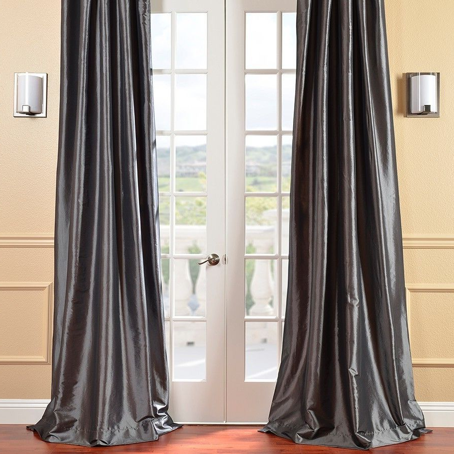 Lochleven Faux Silk Taffeta Solid Room Polyester Darkening Pertaining To 2021 Solid Faux Silk Taffeta Graphite Single Curtain Panels (Gallery 4 of 20)