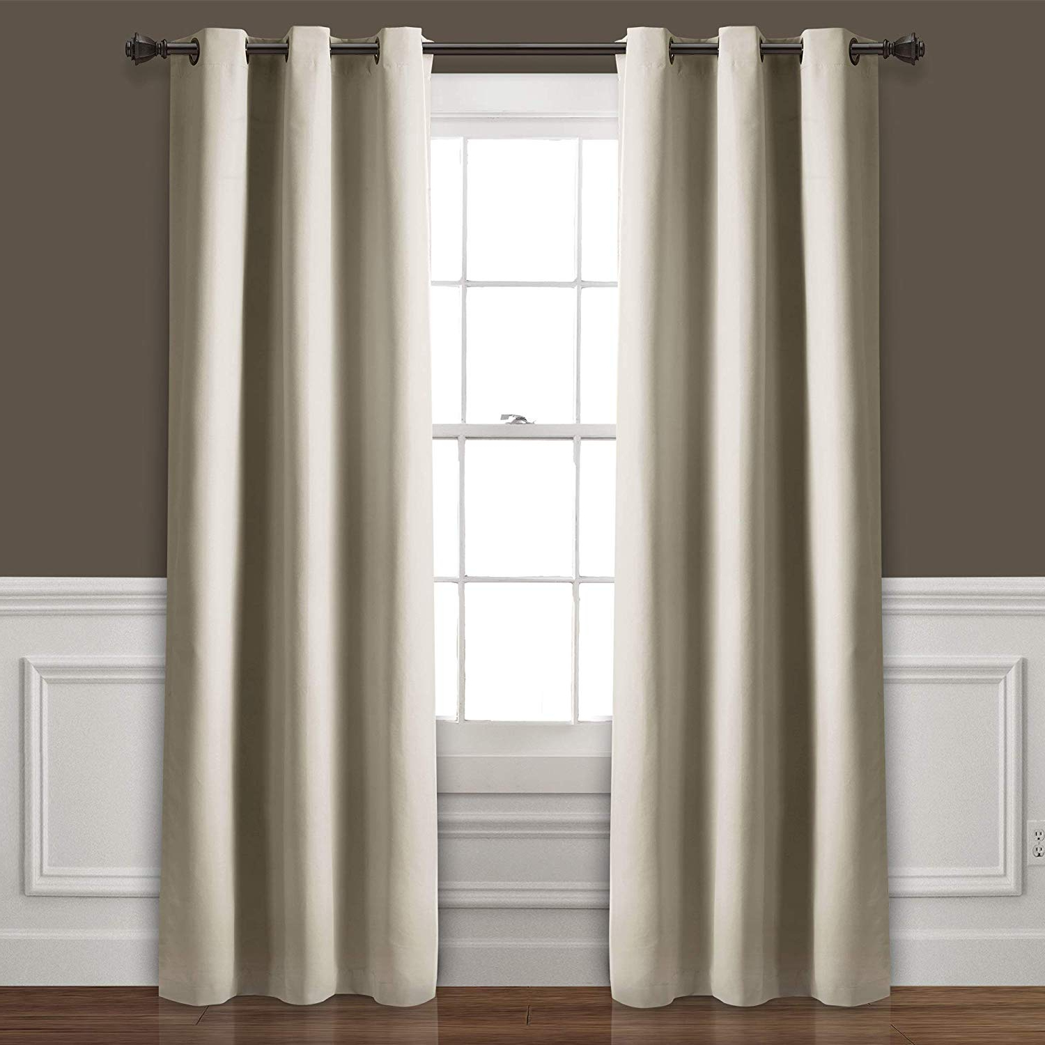 Lush Decor Absolute Blackout Wheat Insulated Grommet Window Curtain Panel Pair (View 6 of 20)