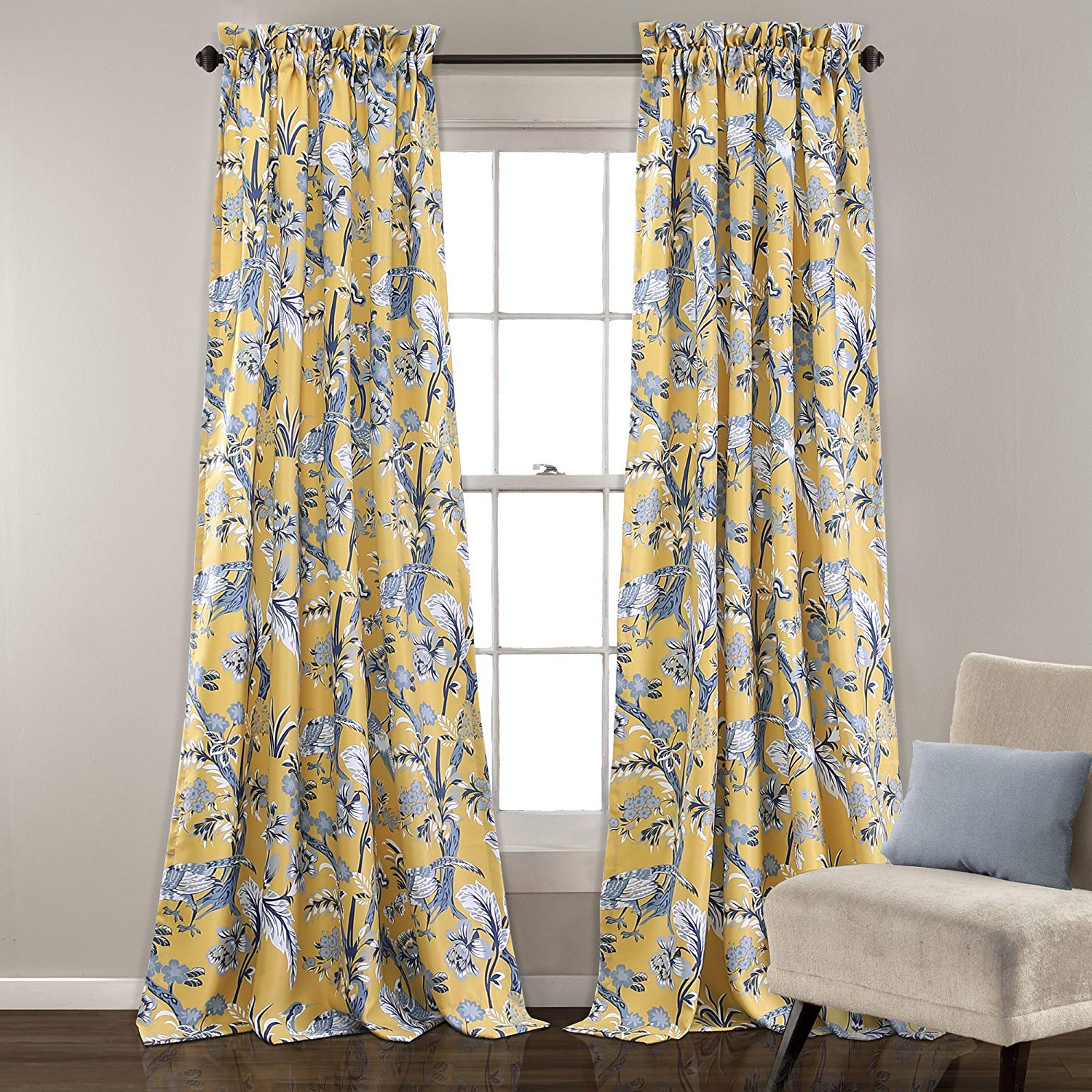 "Lush Decor Curtains Dolores Darkening Window Panel Set For Living, Dining  Room, Bedroom (Pair), 84"" X 52"", Yellow With Best And Newest Dolores Room Darkening Floral Curtain Panel Pairs (Gallery 2 of 20)"