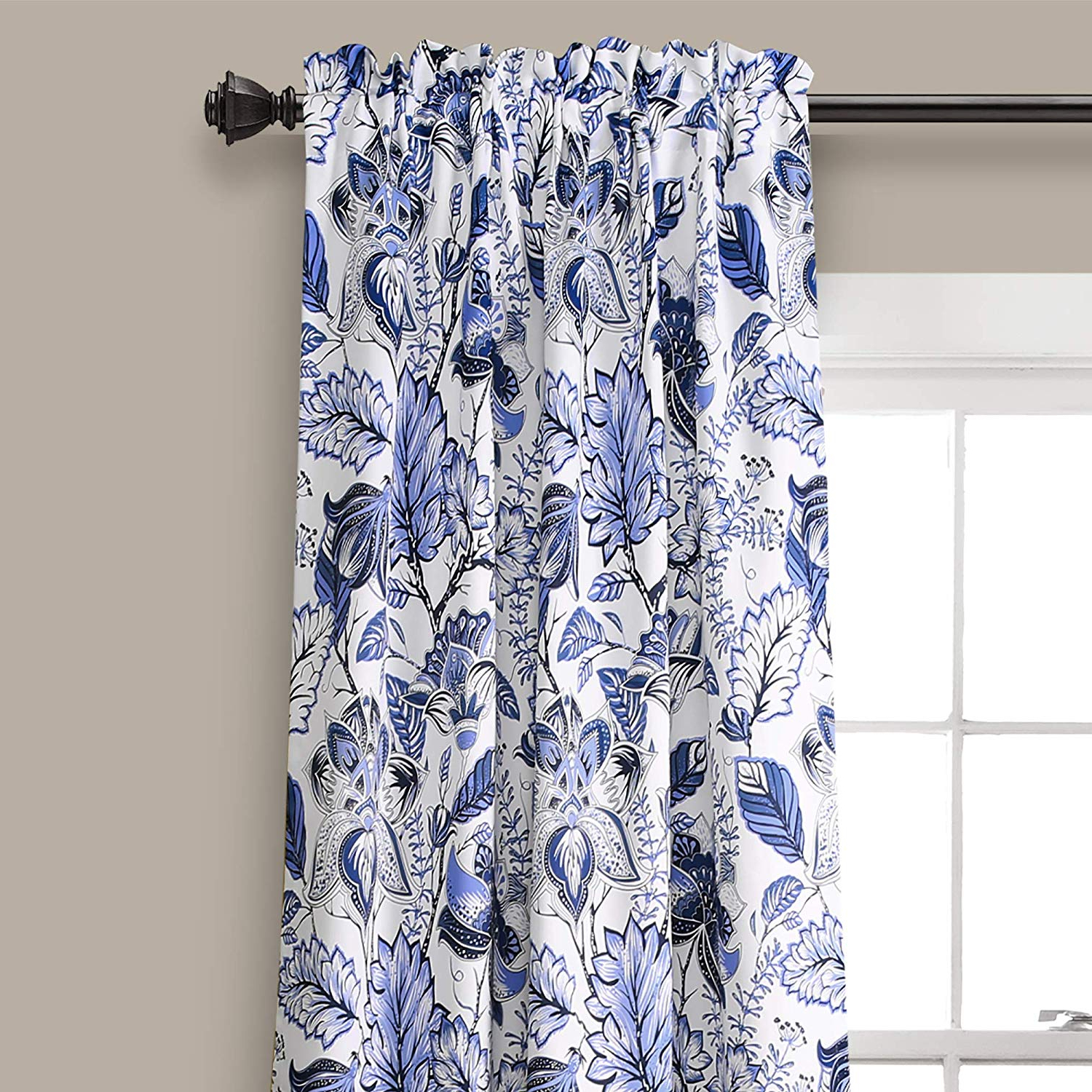"Lush Decor Cynthia Jacobean Room Darkening Window Panel Curtain Set (pair), 84"" L, Blue With Latest Cynthia Jacobean Room Darkening Curtain Panel Pairs (View 4 of 20)"