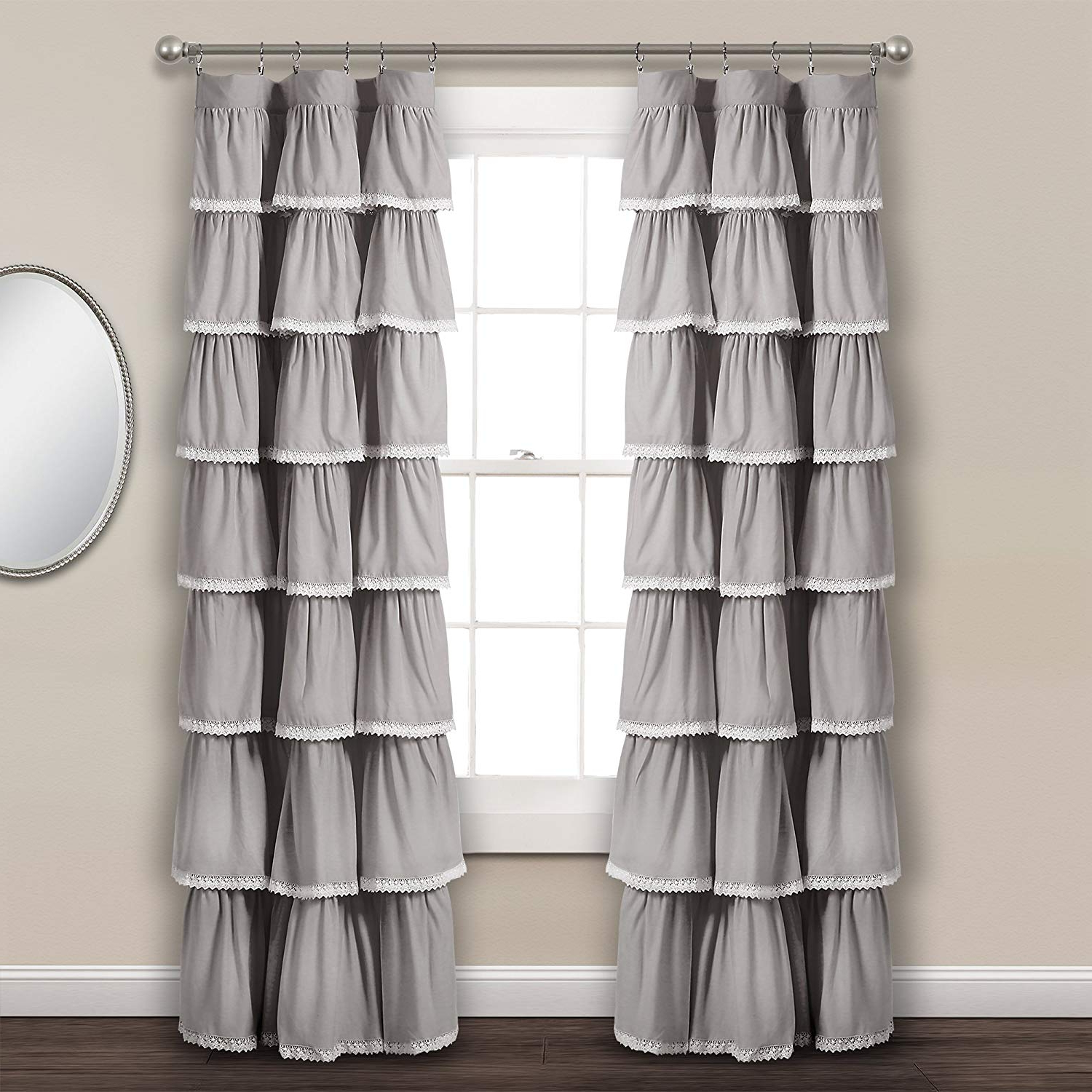 "Lush Decor Lace Ruffle Window Curtain Panel, 84"" X 52"", Gray For Fashionable Lydia Ruffle Window Curtain Panel Pairs (View 13 of 20)"