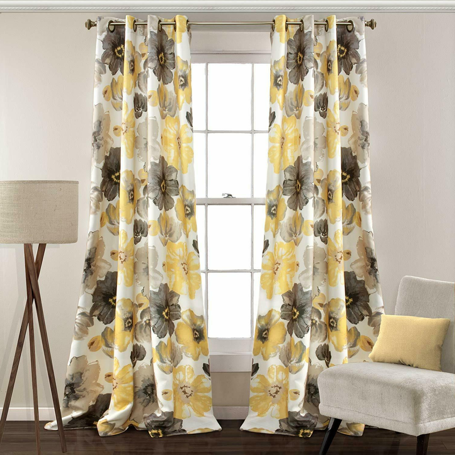 Lush Decor Leah Floral Room Darkening Window Curtains Panel Set Of 2 Pertaining To Popular Julia Striped Room Darkening Window Curtain Panel Pairs (Gallery 16 of 20)