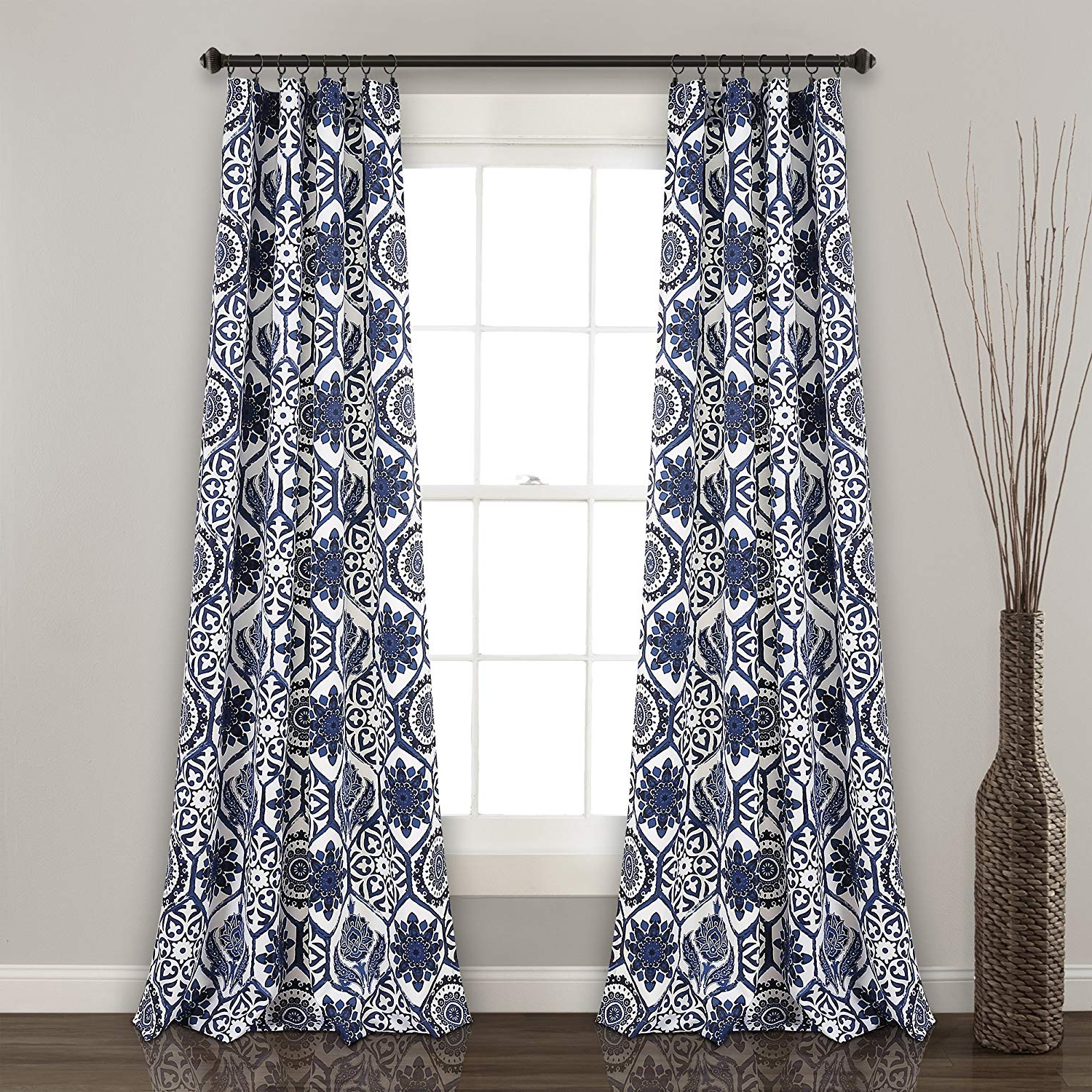 "Lush Decor Marvel Room Darkening Window Curtain Panel Pair, 84"" X 52"", Navy In Newest Cynthia Jacobean Room Darkening Curtain Panel Pairs (View 18 of 20)"