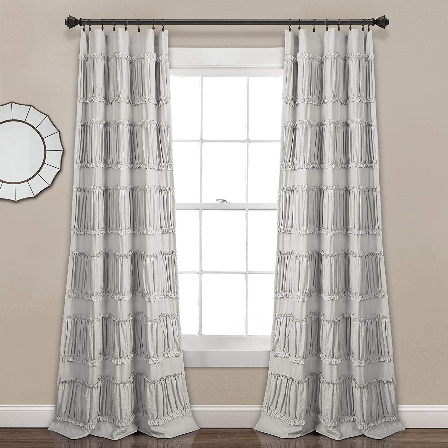 "Lush Decor Nova Ruffle Window Curtain Panel Pair, 84"" X 42"", Gray In Recent Lydia Ruffle Window Curtain Panel Pairs (View 9 of 20)"